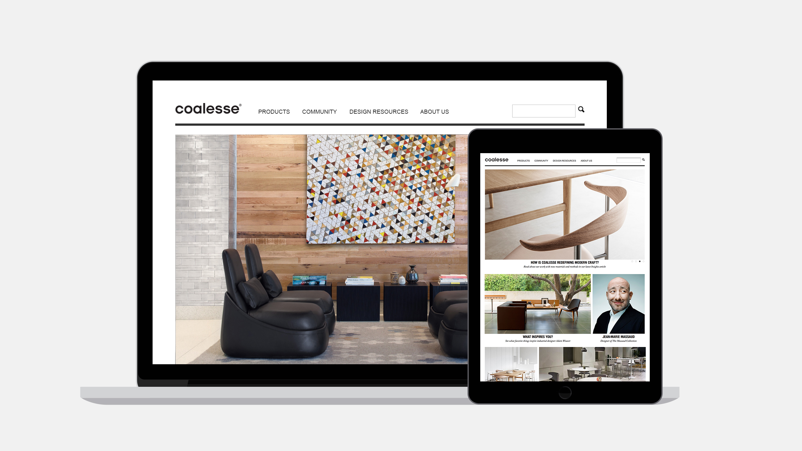 Coalesse Interactive Case Study on Laptop and iPad