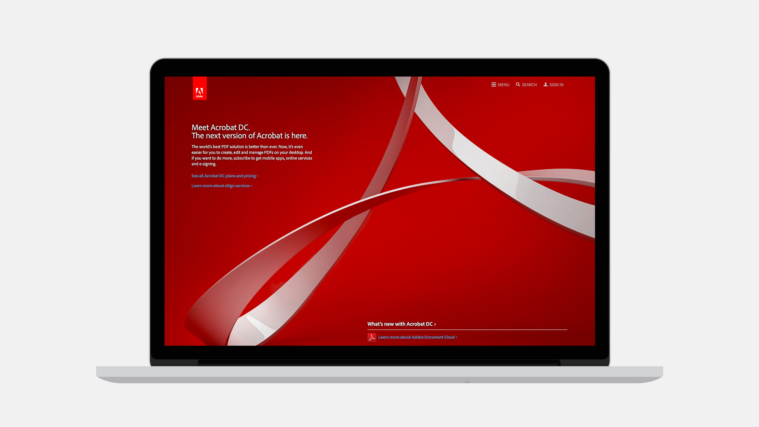 Adobe Acrobat Website Product landing page on laptop