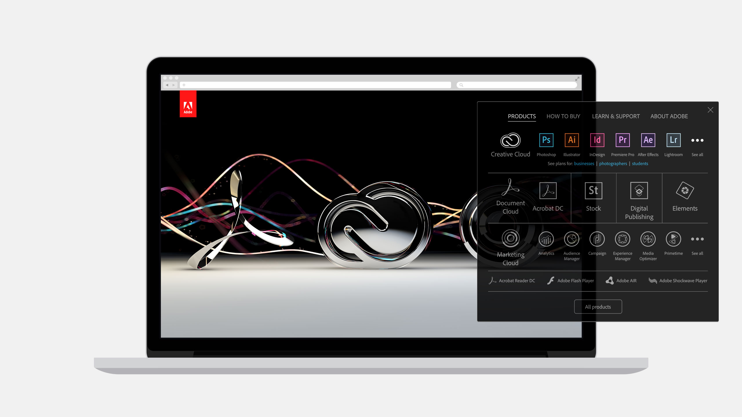 Adobe Creative Cloud System Products on a Laptop