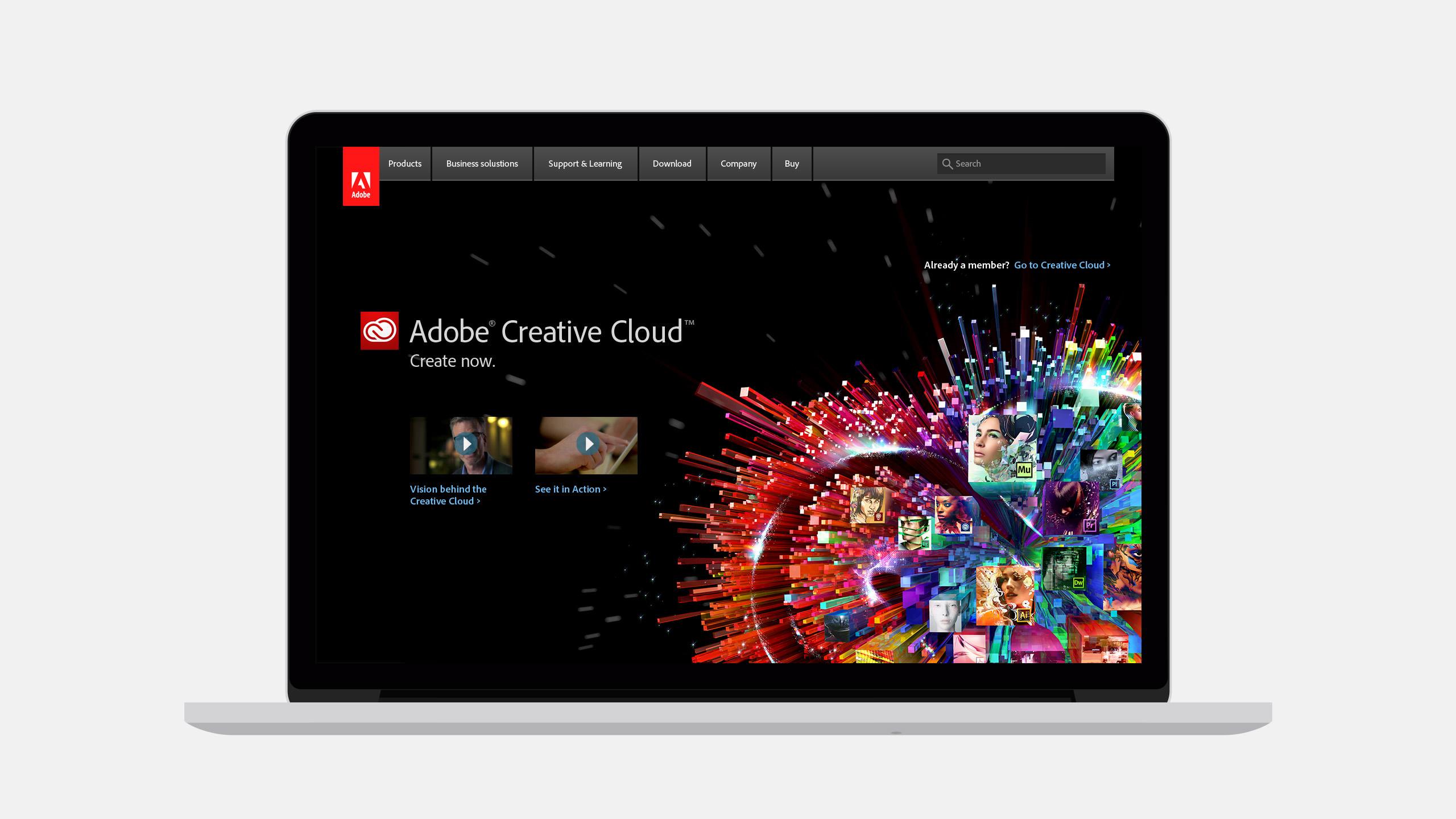 Adobe Creative Cloud Web Product on a Laptop