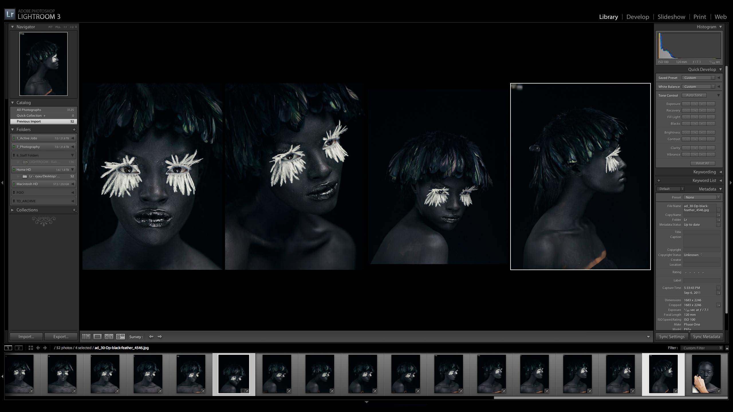 Adobe Lightroom Photography Production Screenshot using Lightroom
