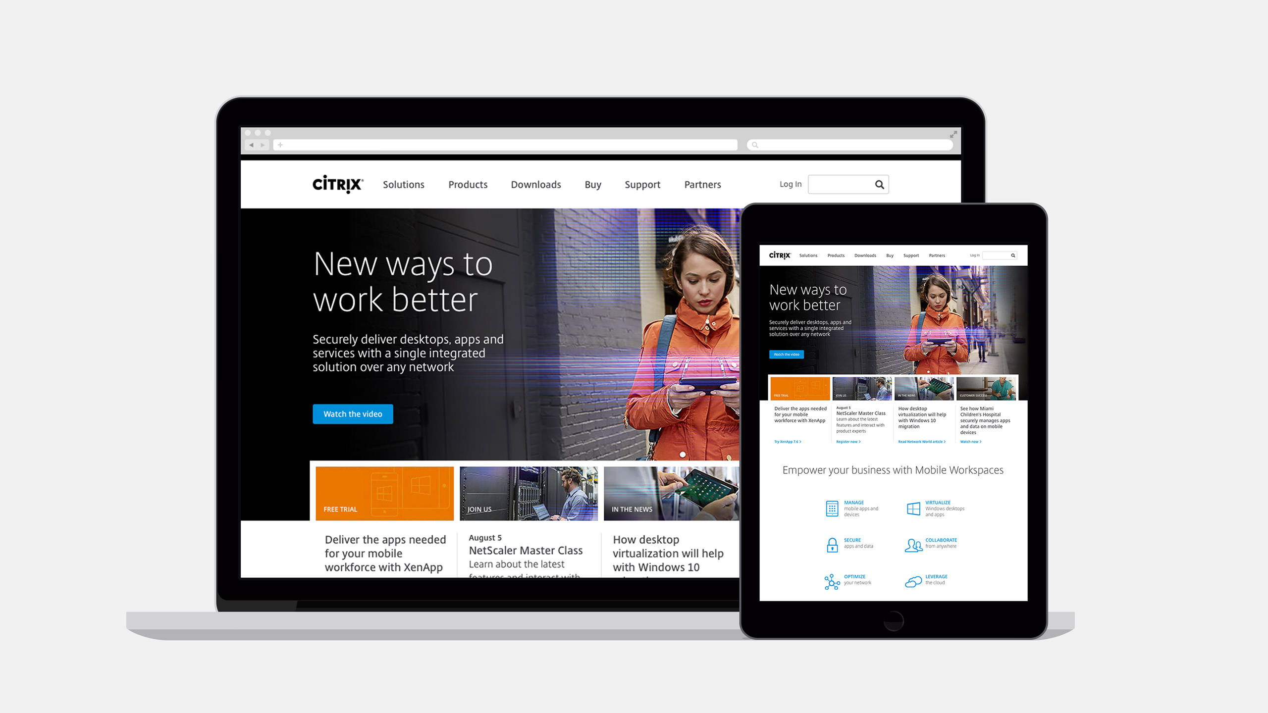 Citrix Website Homepage within devices on laptop and tablet