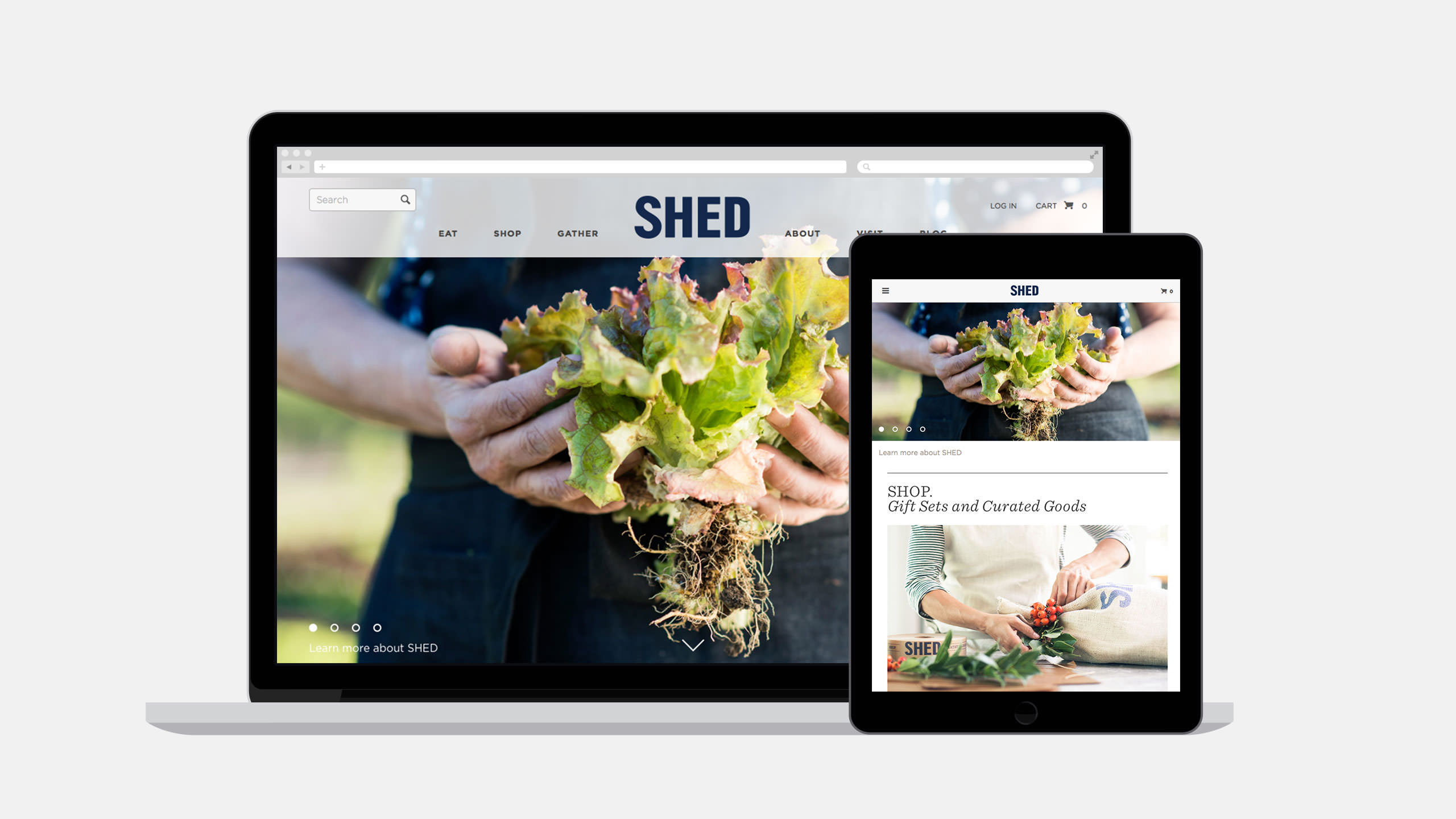 SHED Interactive Home Page on laptop and Tablet