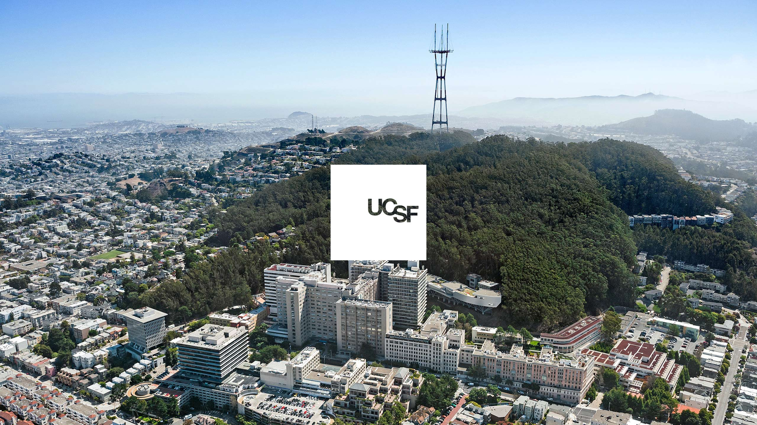 UCSF Brand Identity on White with view of Parnassus Campus