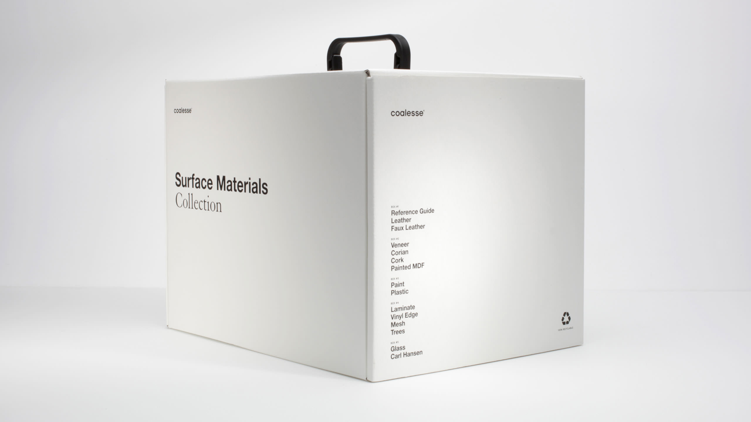Coalesse Brand Launch Packaging White Box presenting Surface Materials