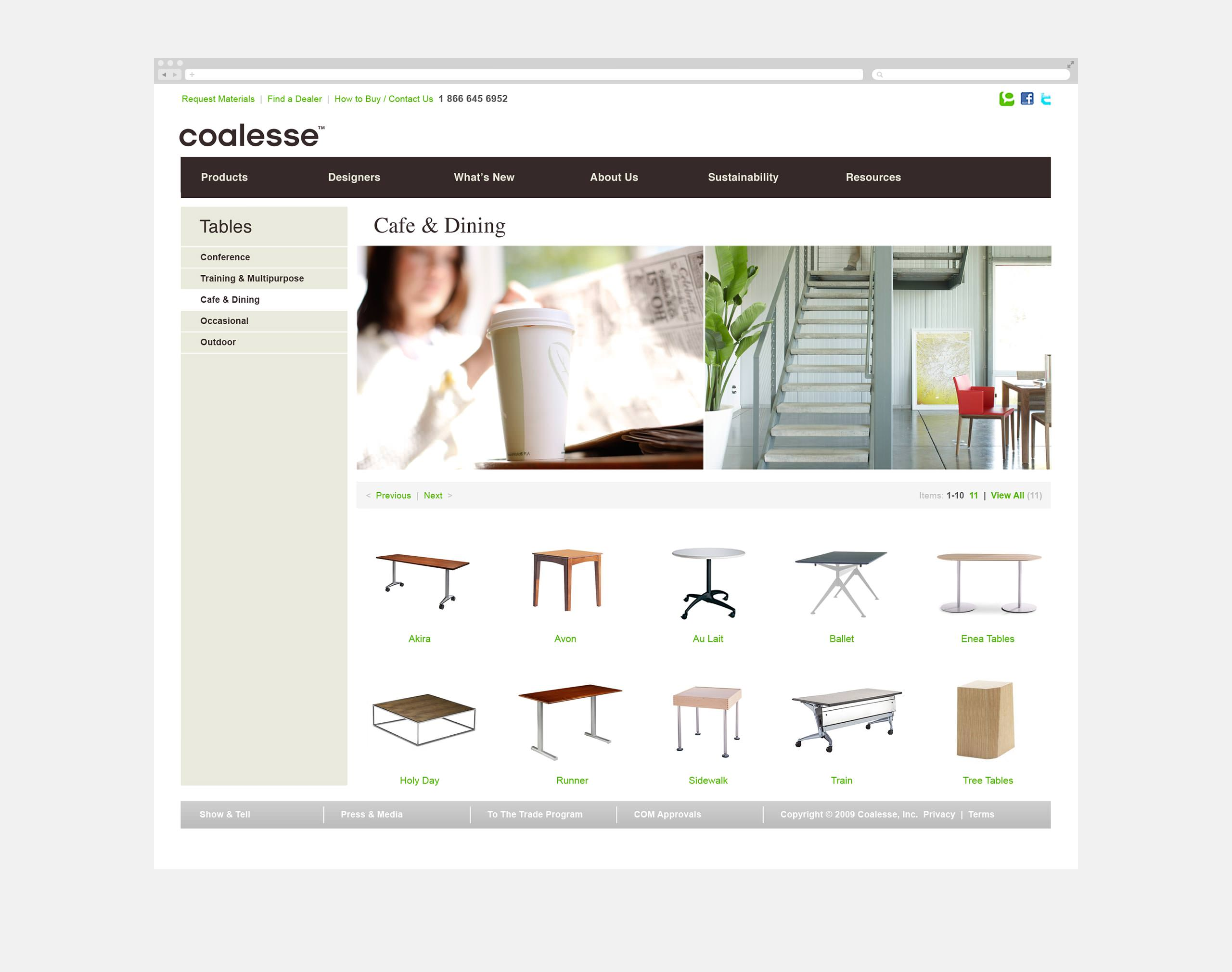 Coalesse Brand Website Launch - Product Page of Cafe Dining Tables