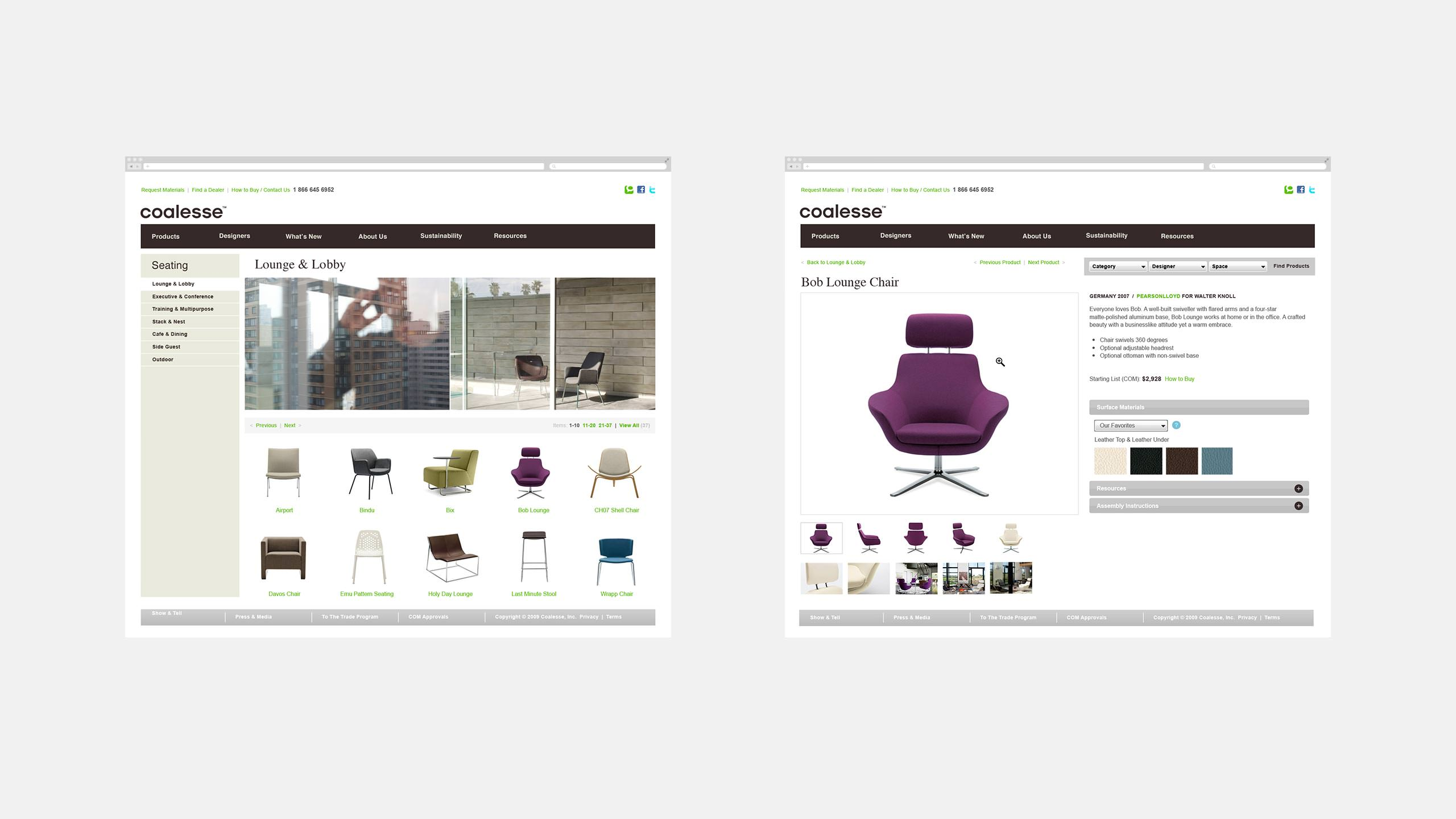 Coalesse Website Brand Launch Product Detail Page