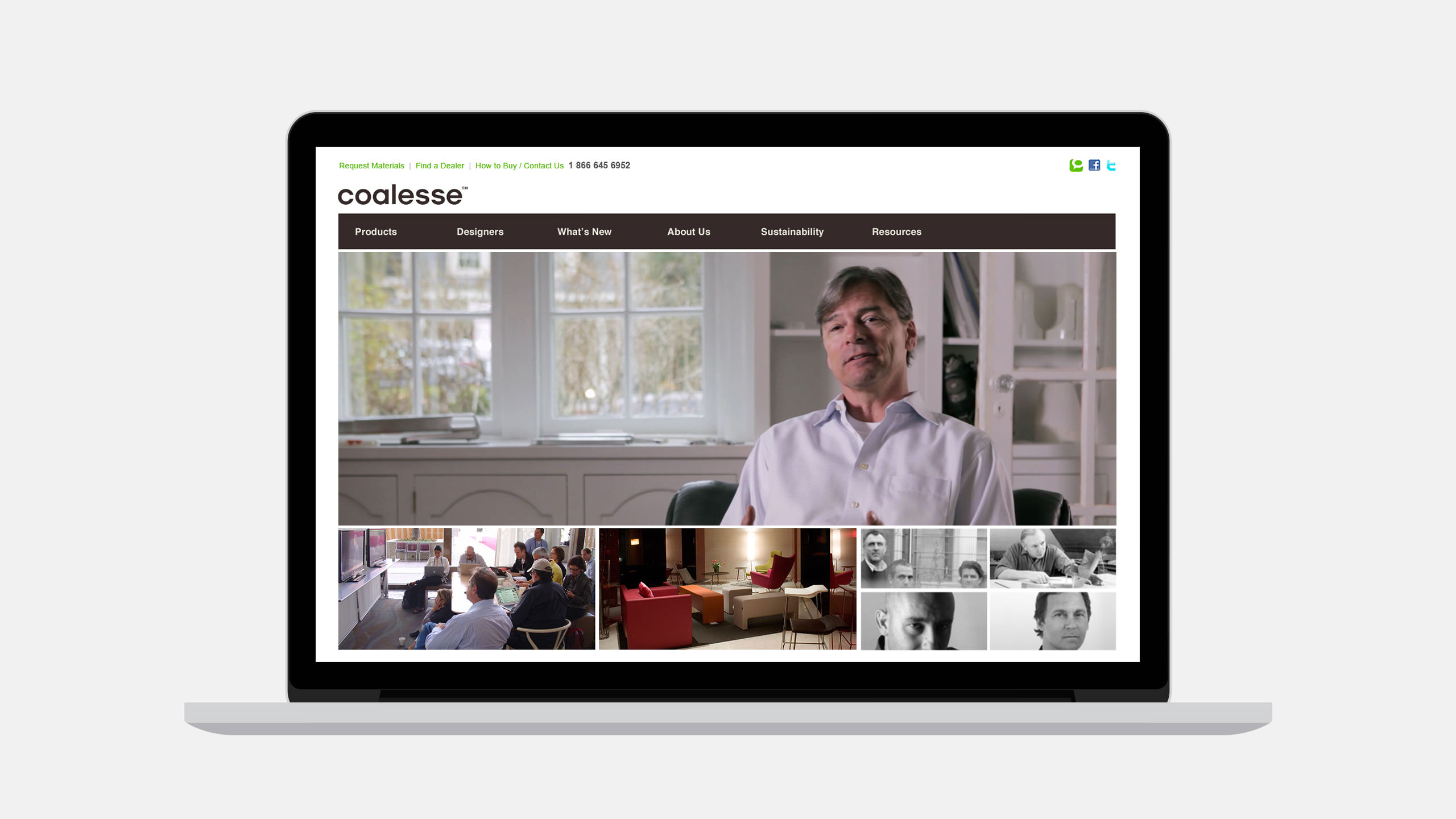 Coalesse Website Launch on laptop showing Stephan Copeland