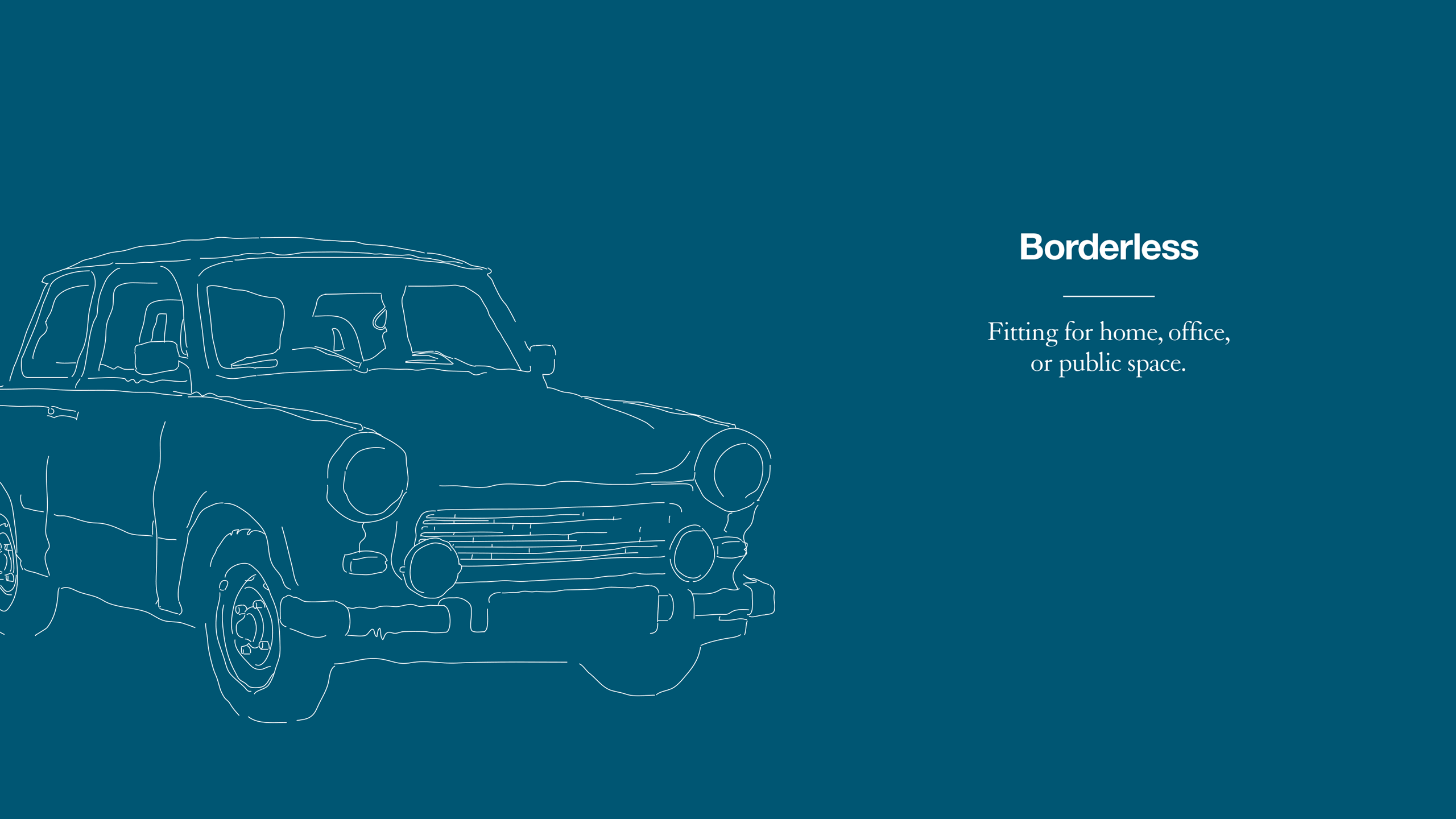 Coalesse Brand Refresh Illustration of borderless car with blue background