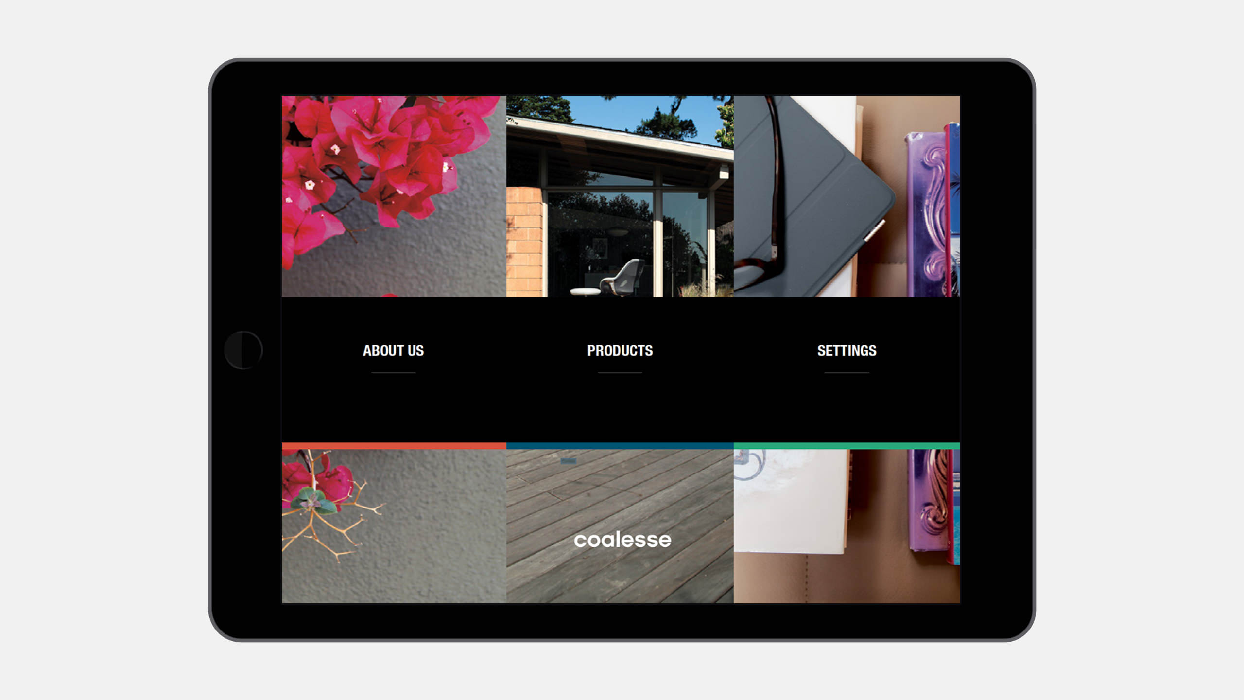 Coalesse Brand Refresh of Interactive Sales tool home page on iPad