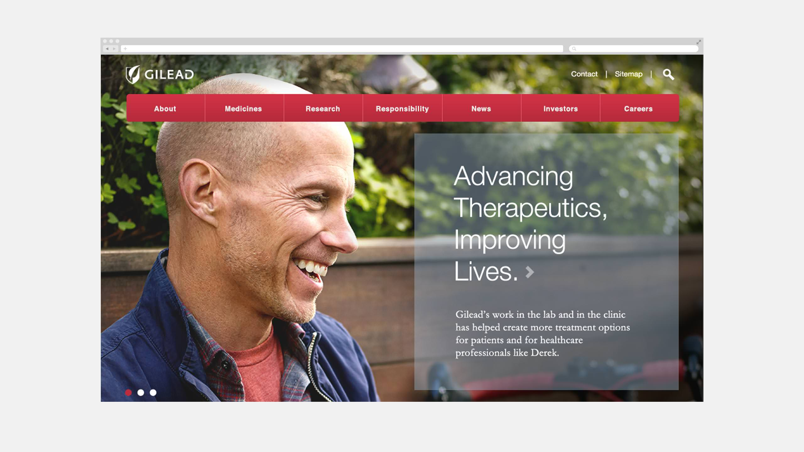 Gilead Website Homepage with Jamie