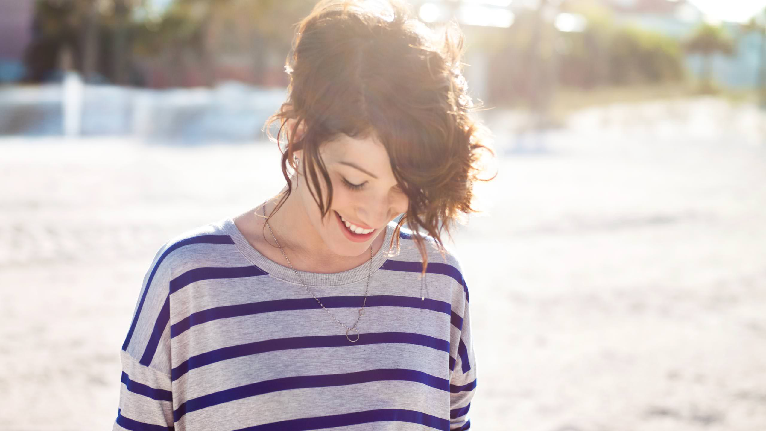 Gilead Brand Photography with Katie in beach stripes shirt