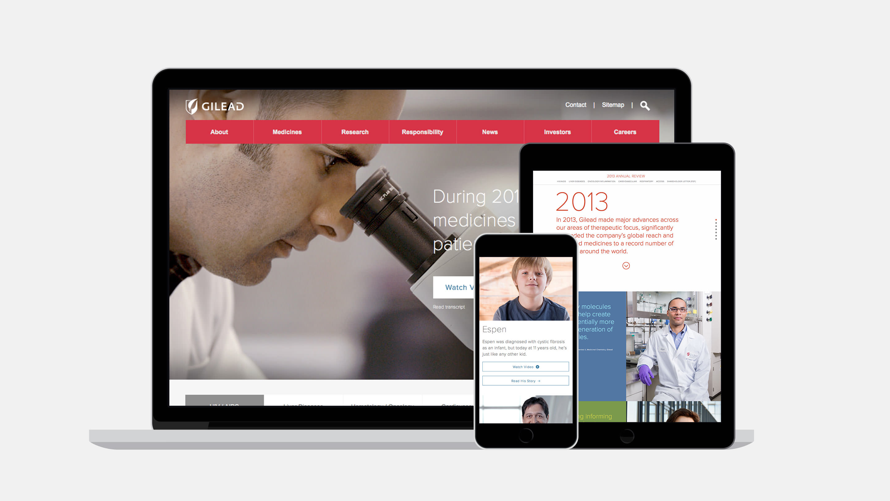 Gilead Digital Annual Report for 2014 viewed on a laptop, tablet and mobile
