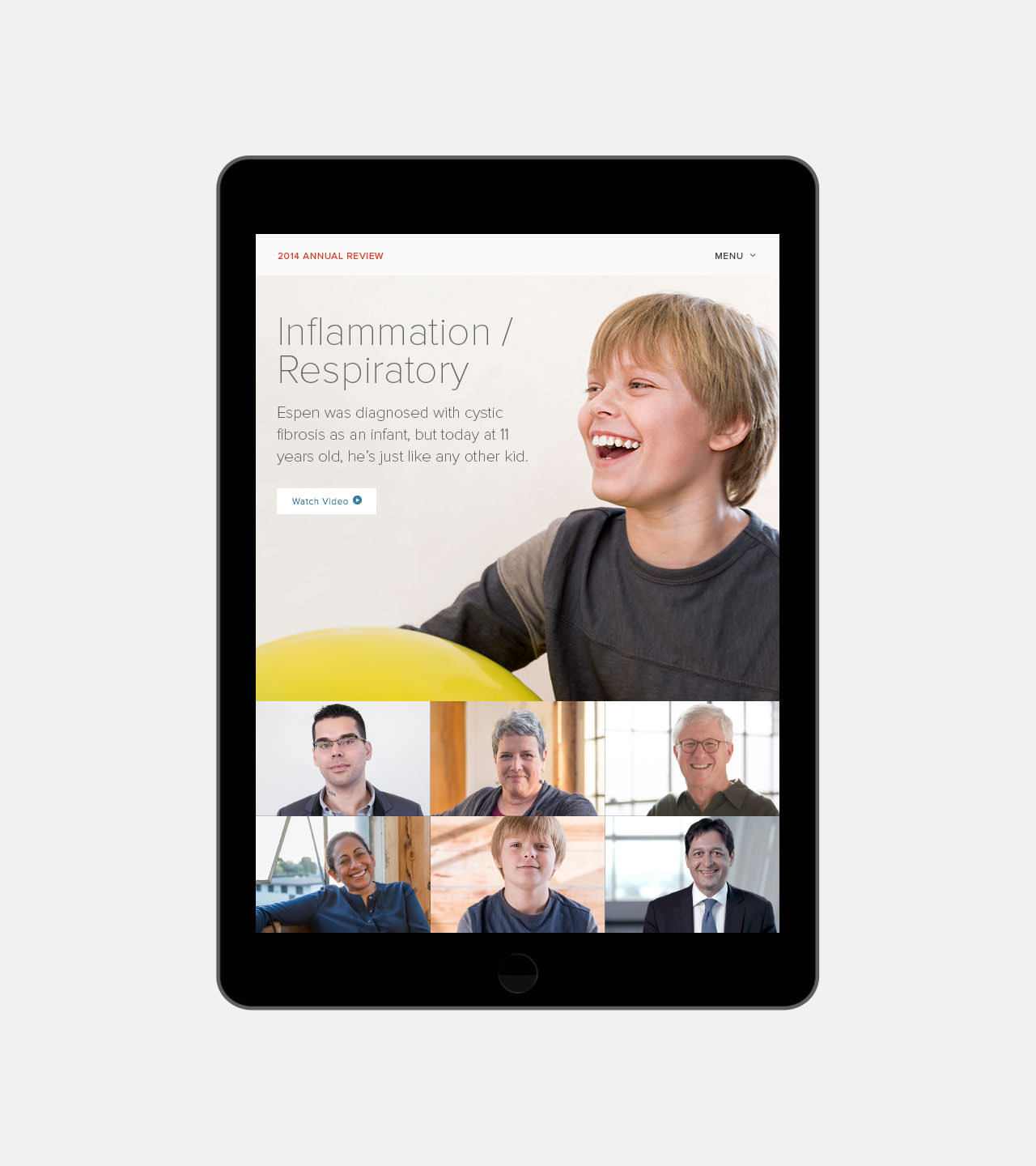 Gilead Digital Web Annual Report 2014 - Landing Page view on tablet