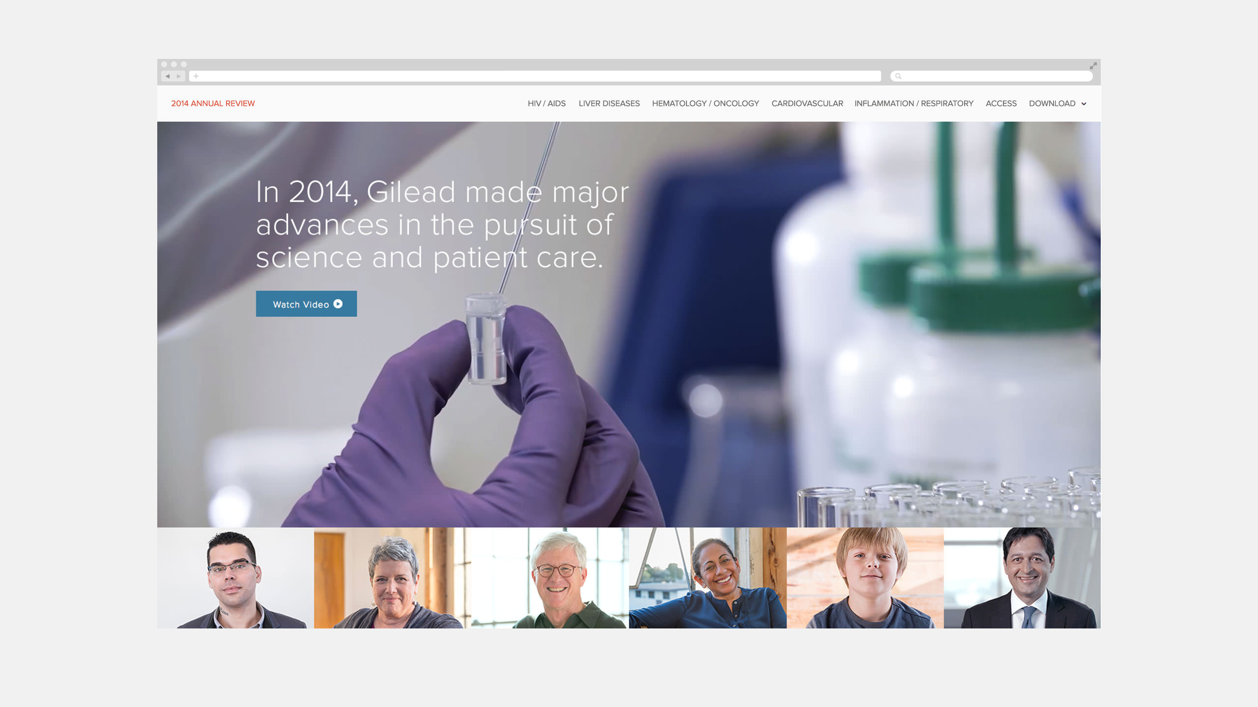 Gilead Interactive Annual Report 2014 Landing Page