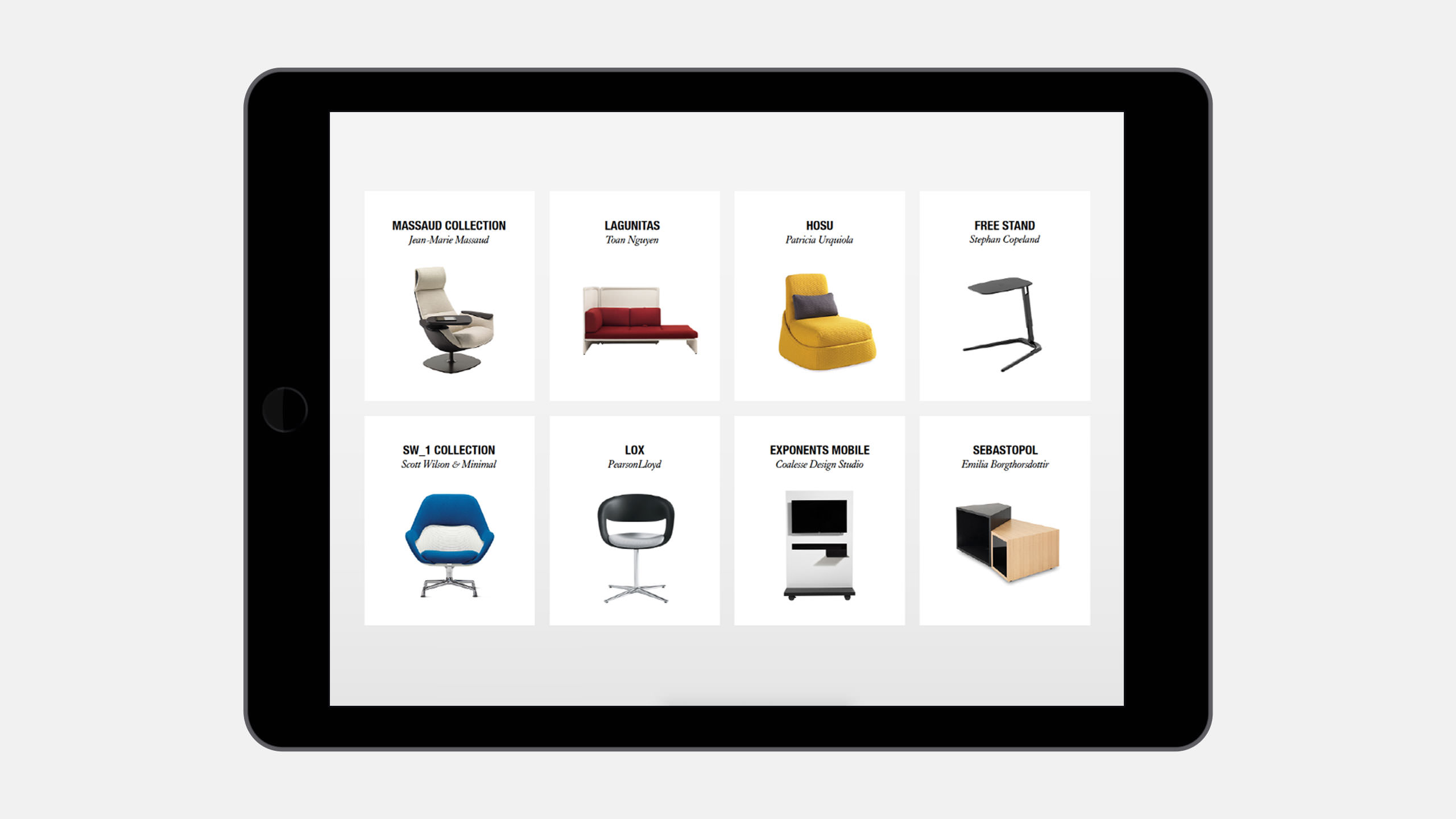 Coalesse Interactive Sales Tool Products on iPad