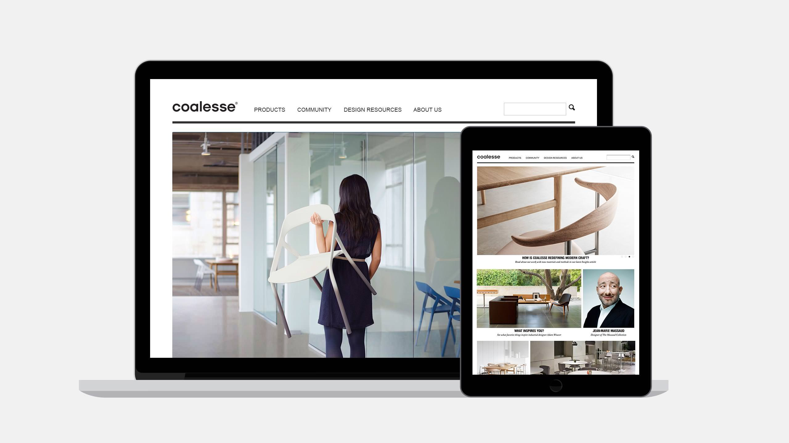 Coalesse Interactive designer website page on laptop and ipad