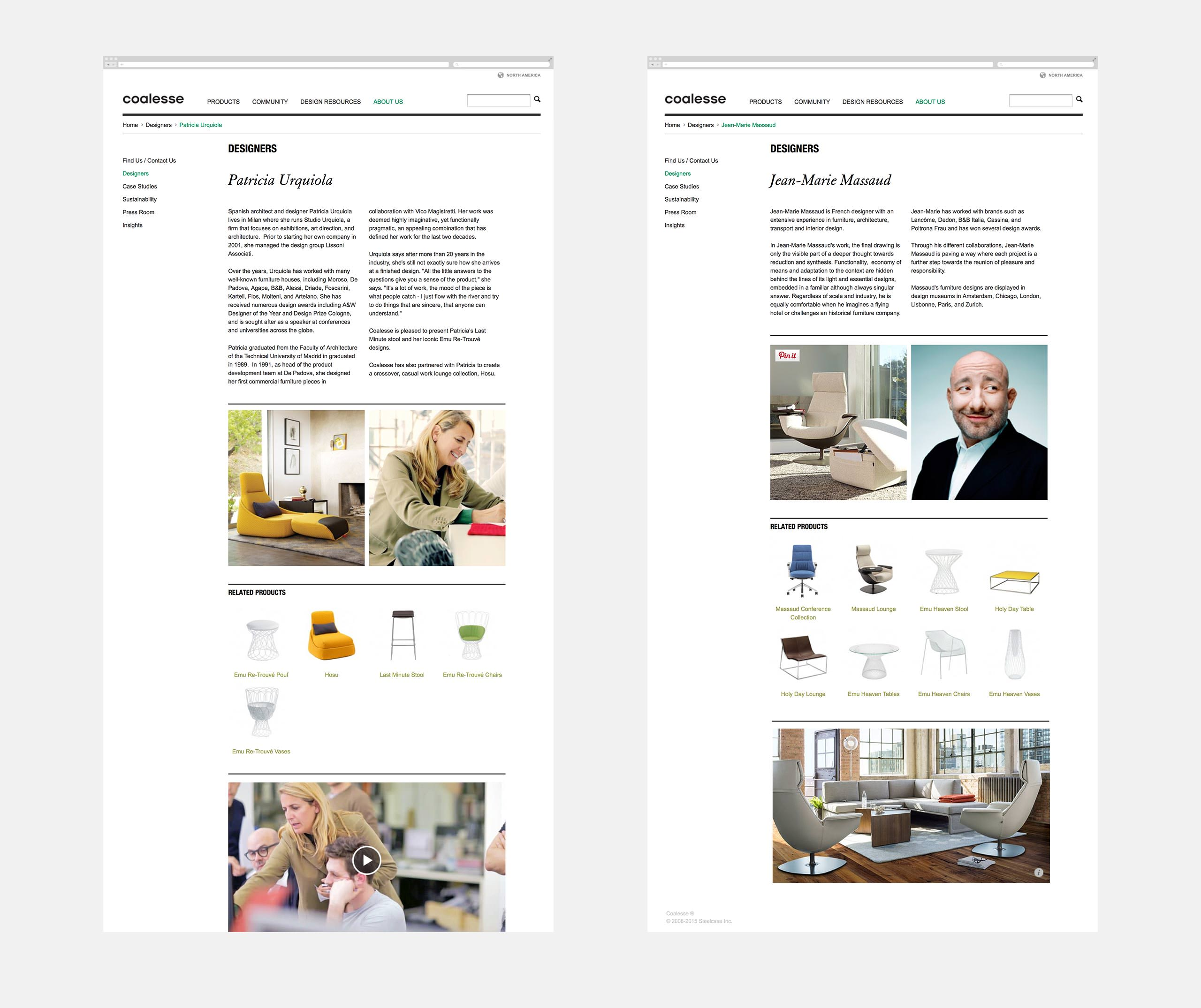 Coalesse Interactive Designers Website Page of Urquiola and Massaud