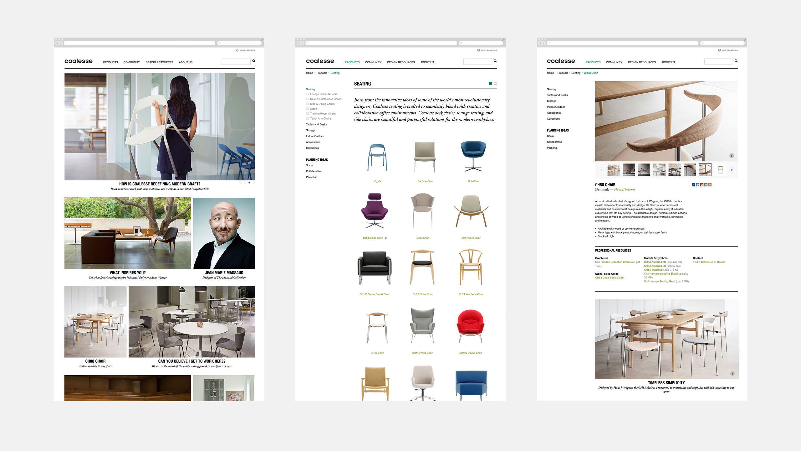 Coalesse Interactive Website Home page and Seating Product Detail Page