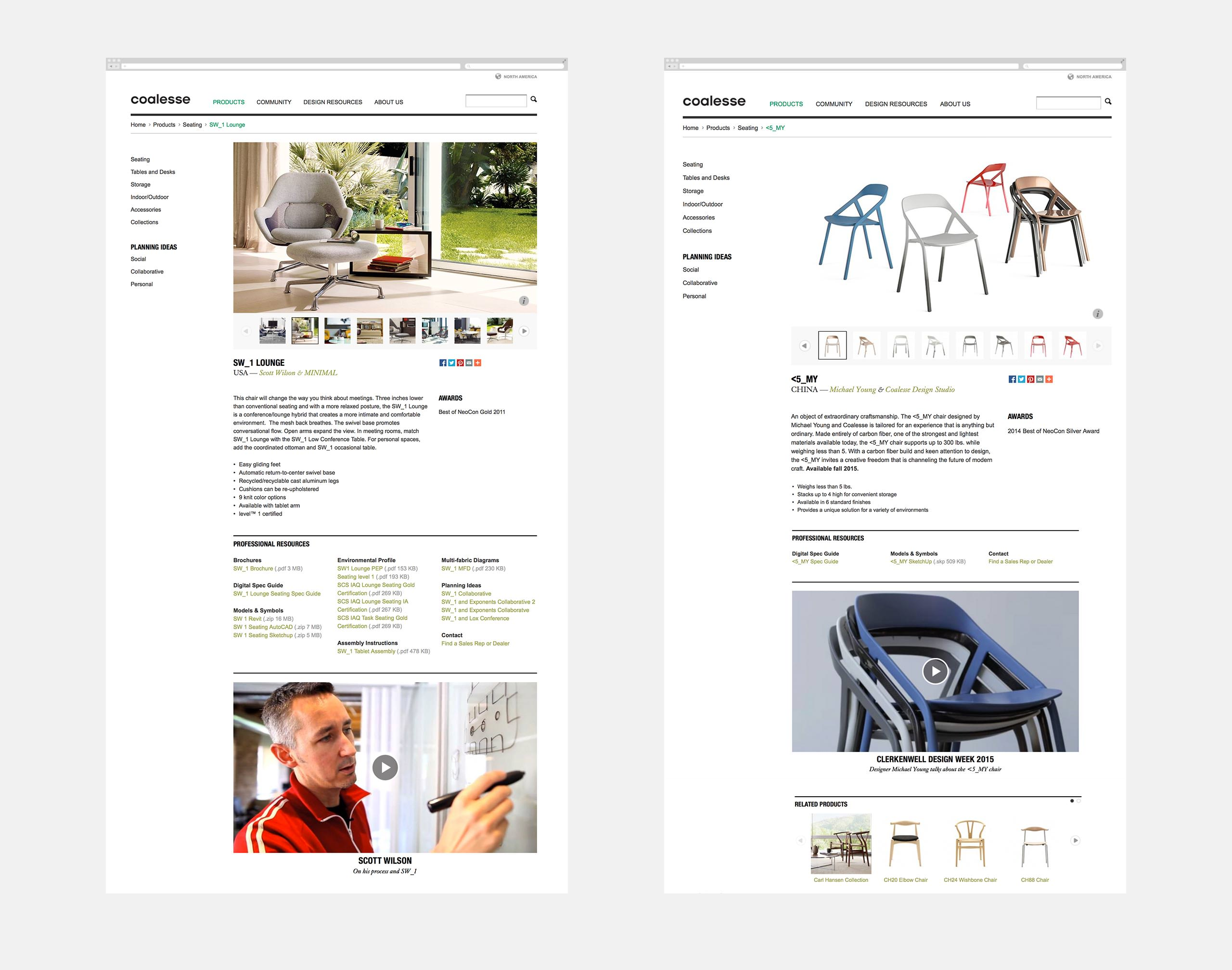 Coalesse Interactive Website Products Page - SW1