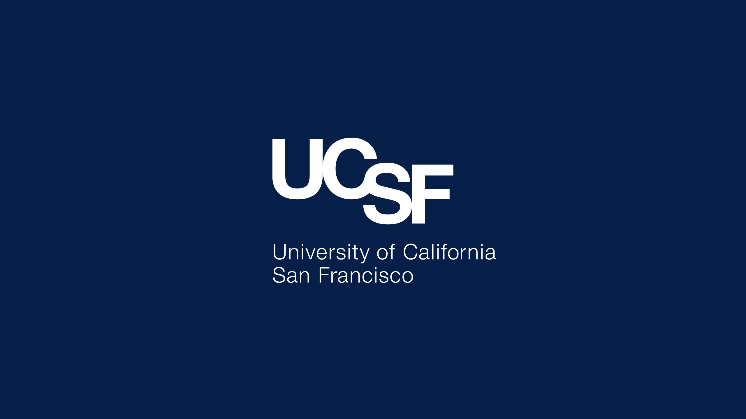 UCSF Master Brand Logo Reversed on Navy Background