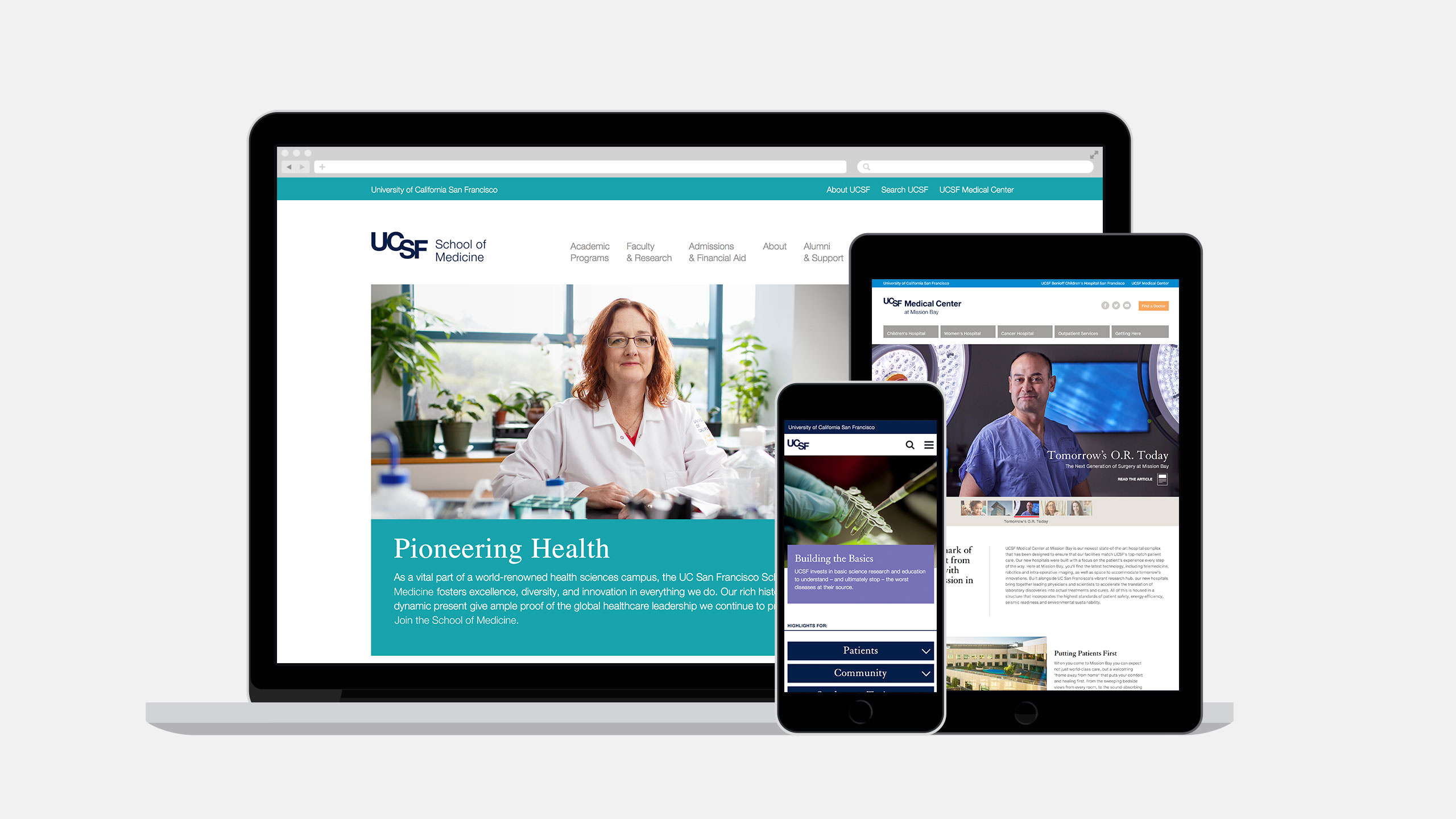 UCSF Brand Websites on Laptop, Tablet and Mobile Phone