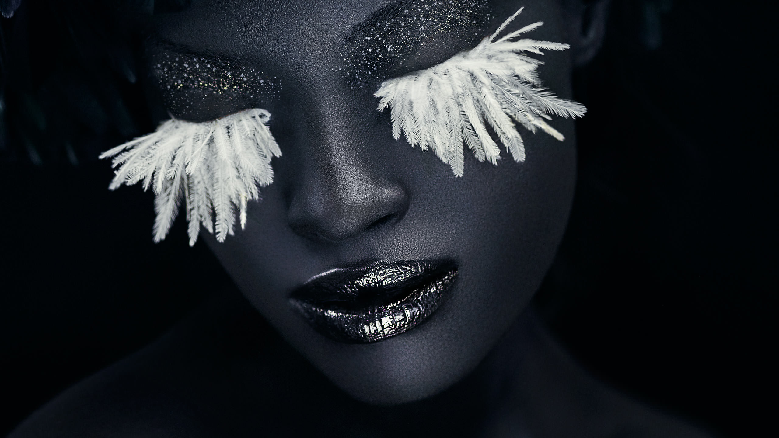 Adobe Lightroom Portrait Photoshoot closeup with large white eyelashes