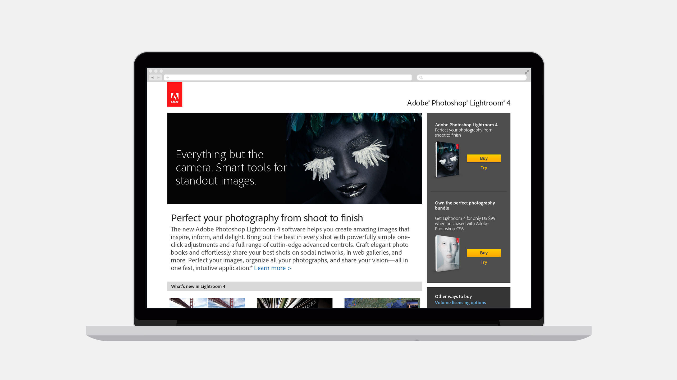 Adobe Lightroom Website Product page on Laptop