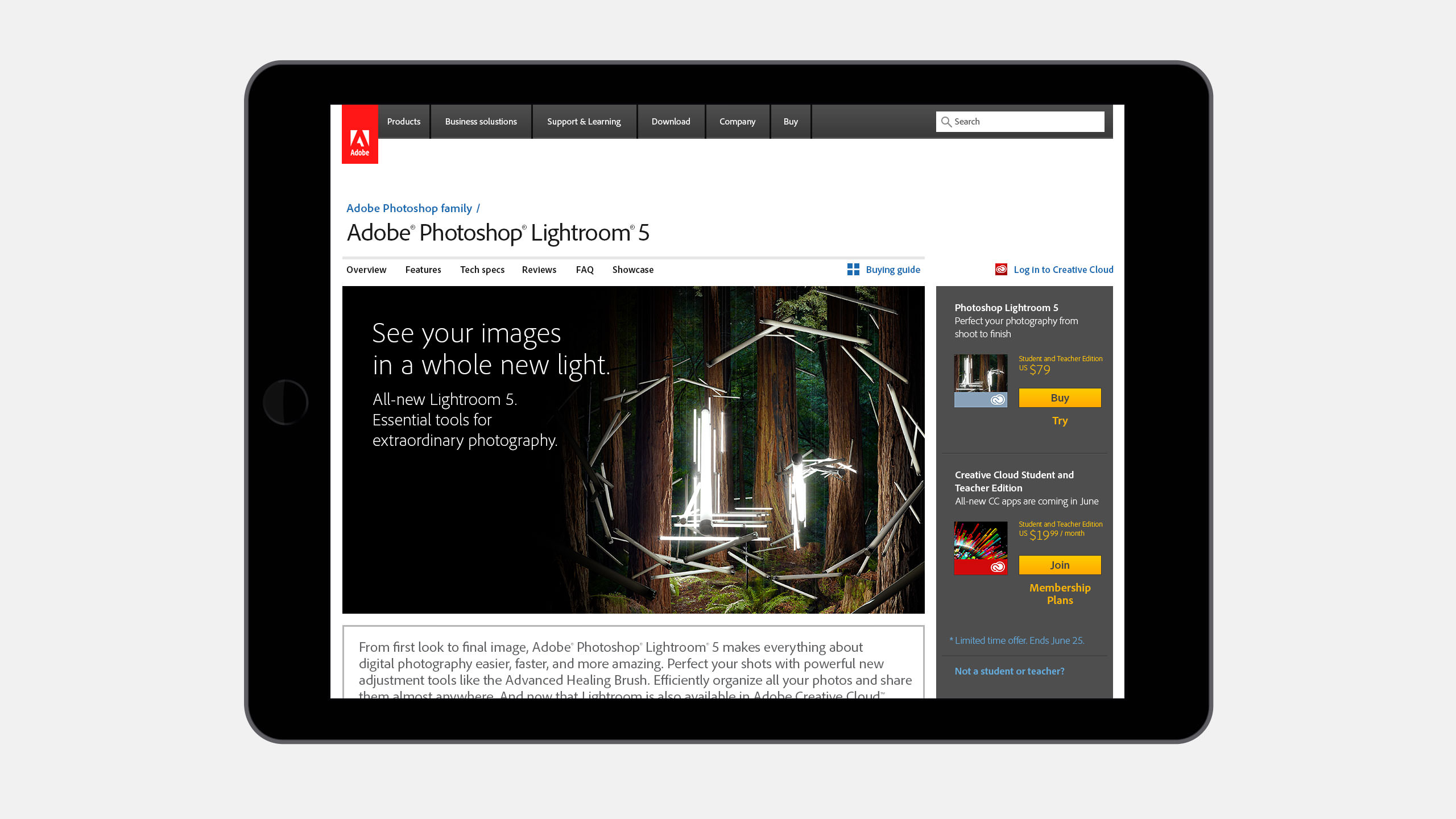 Adobe Lightroom Website Product Page on iPad