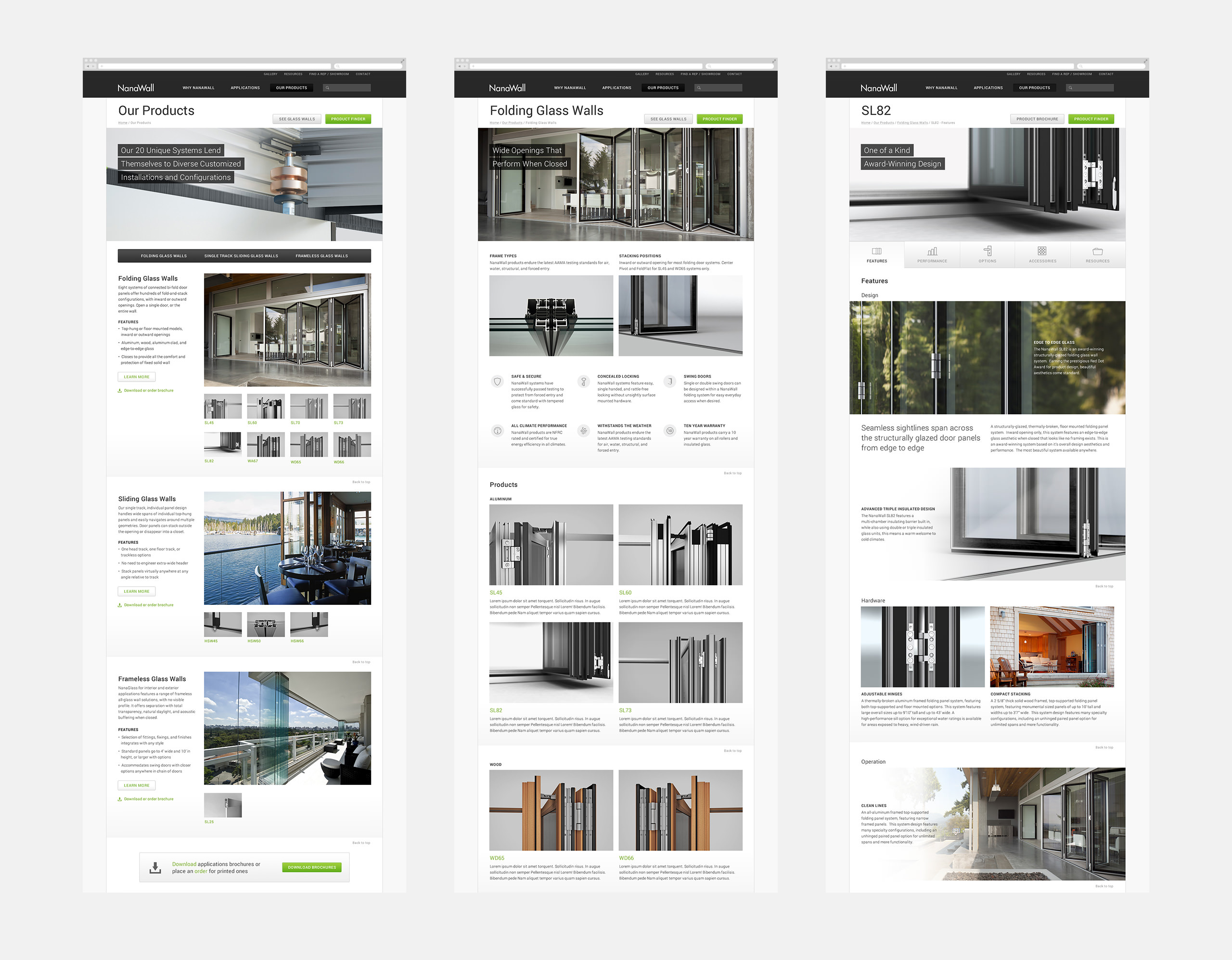 NanaWall Website Product Pages