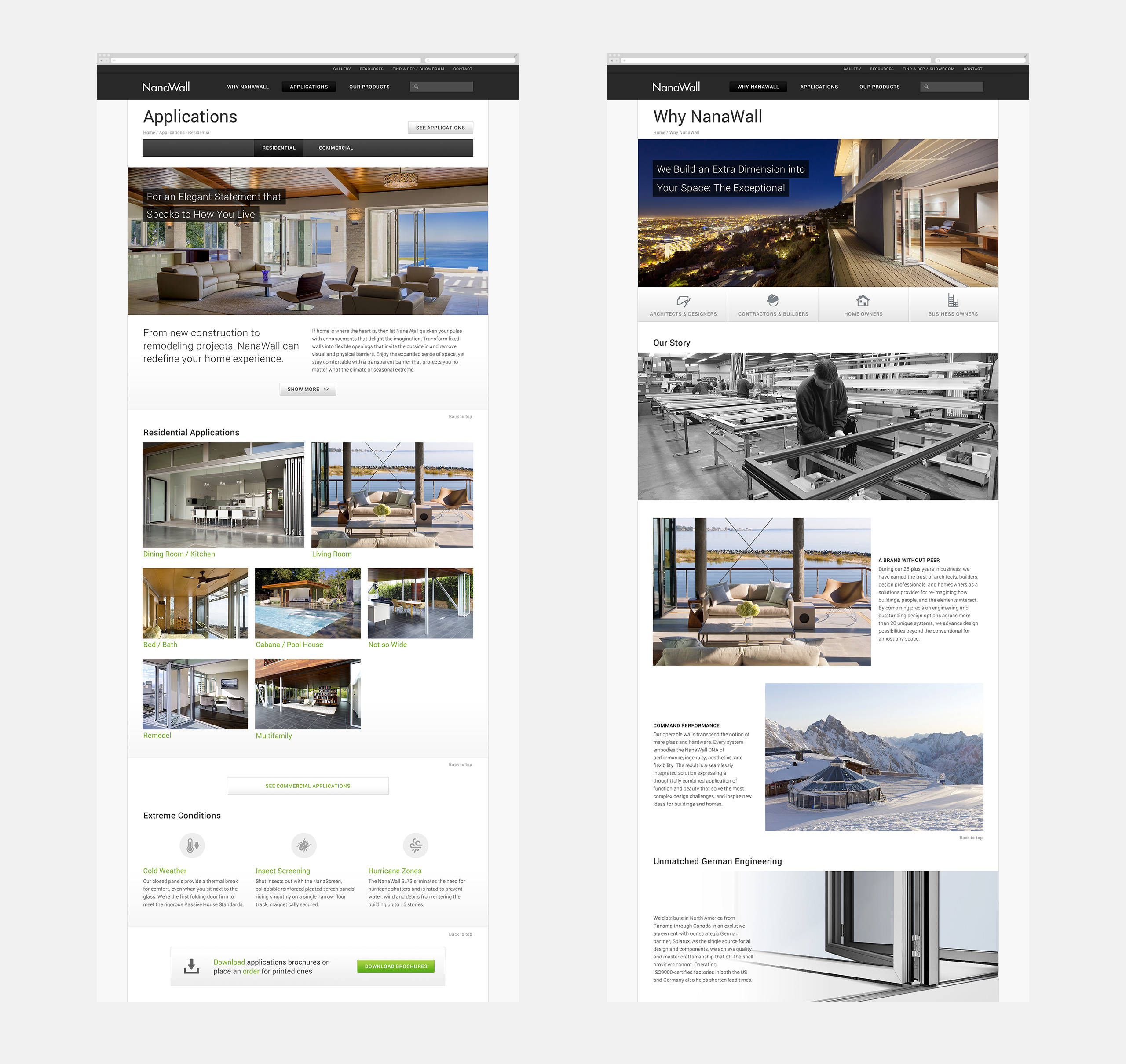 NanaWall Website Sections - Applications Page and Why NanaWall Page