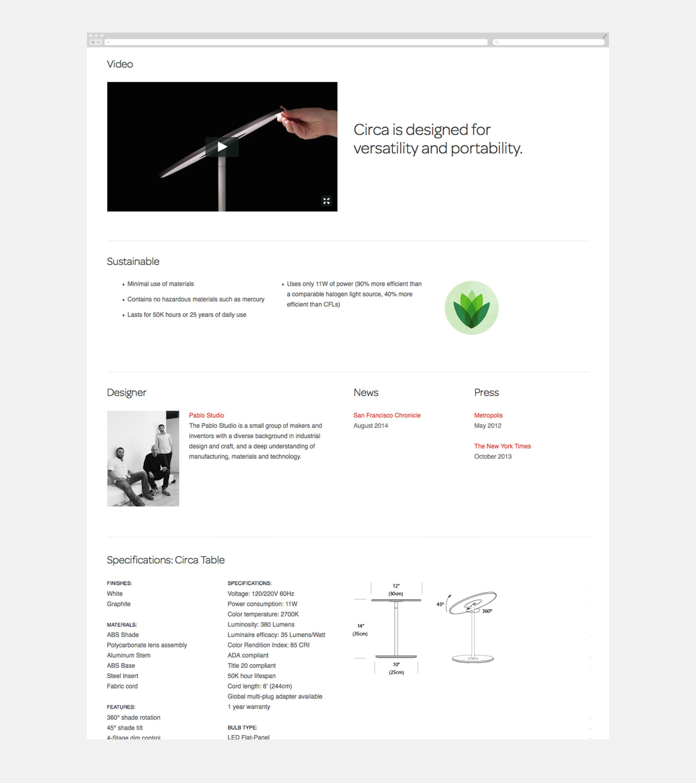 Pablo Designs Website Page - Circa Video Details
