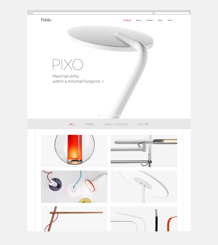 Pablo Designs Website Homepage showing Pixo