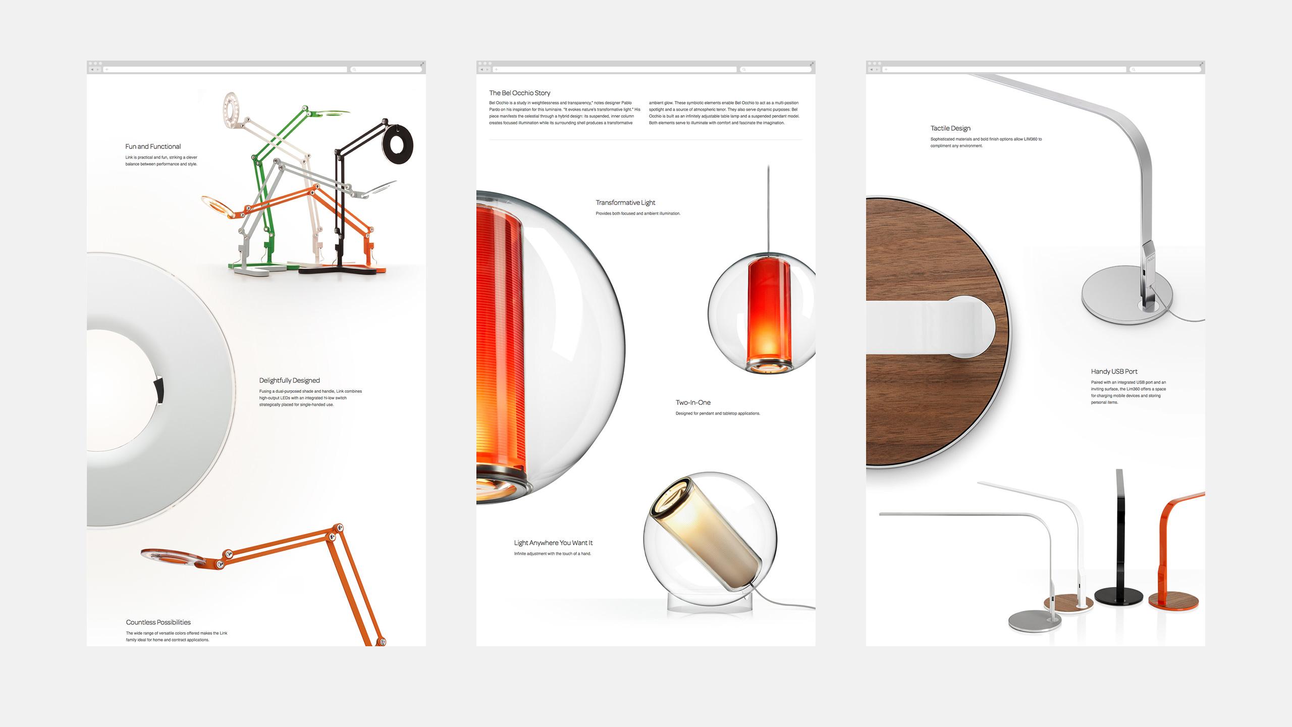 Pablo Designs Website Product Pages - Link, Bel Occhio, Lim360