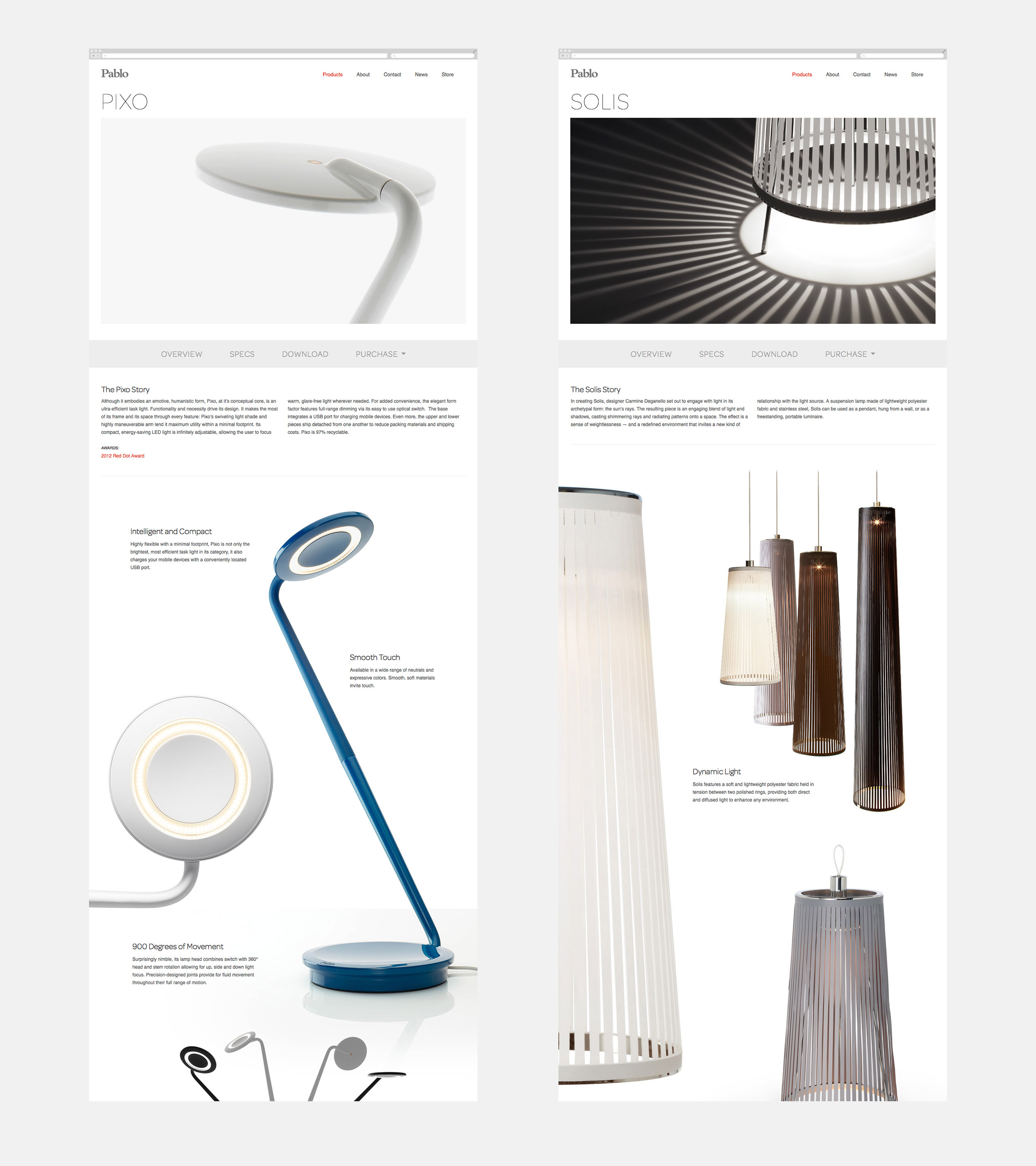 Pablo Designs Website Product Pages - Pixo and Solis