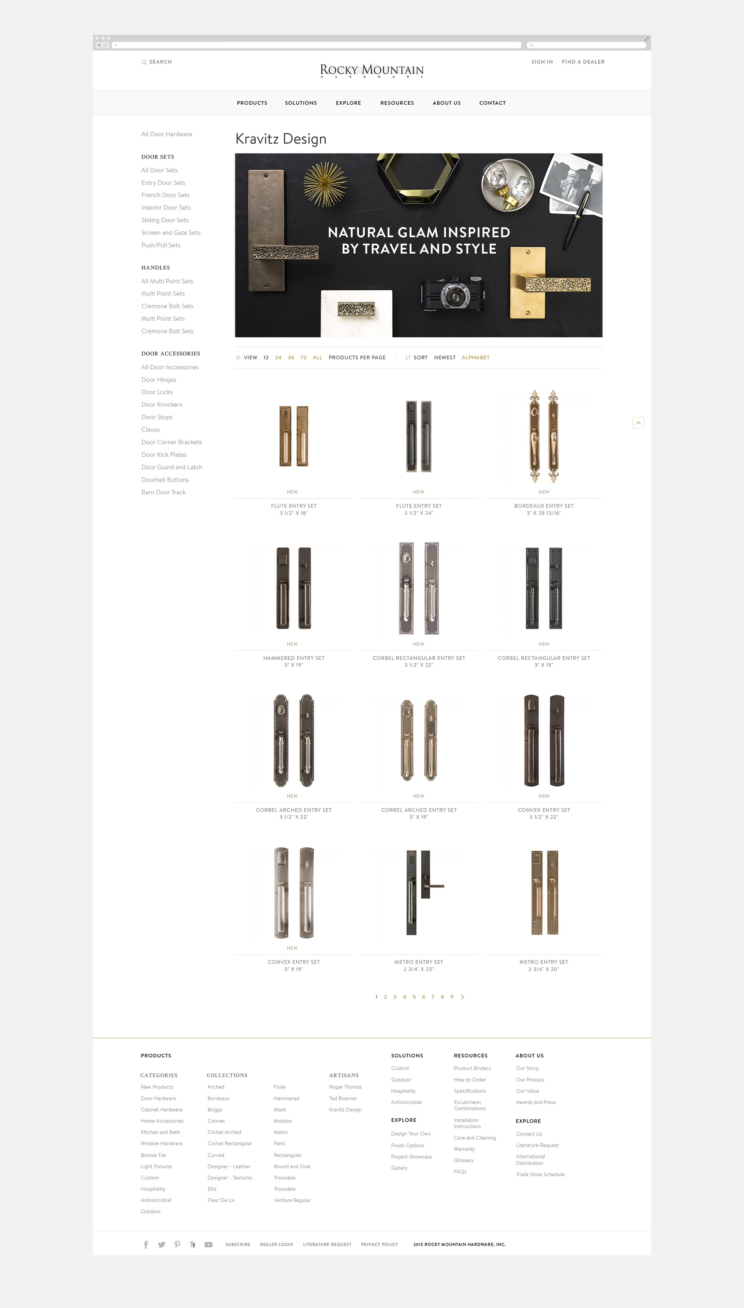 Rocky Mountain Hardware Interactive Website - Lenny Kravitz Product Collections