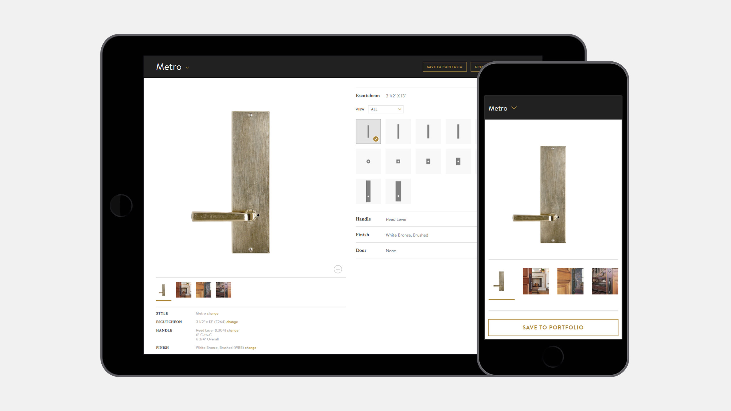 Rocky Mountain Hardware Interactive Website viewed on Tablet and Mobile of Product Configurator
