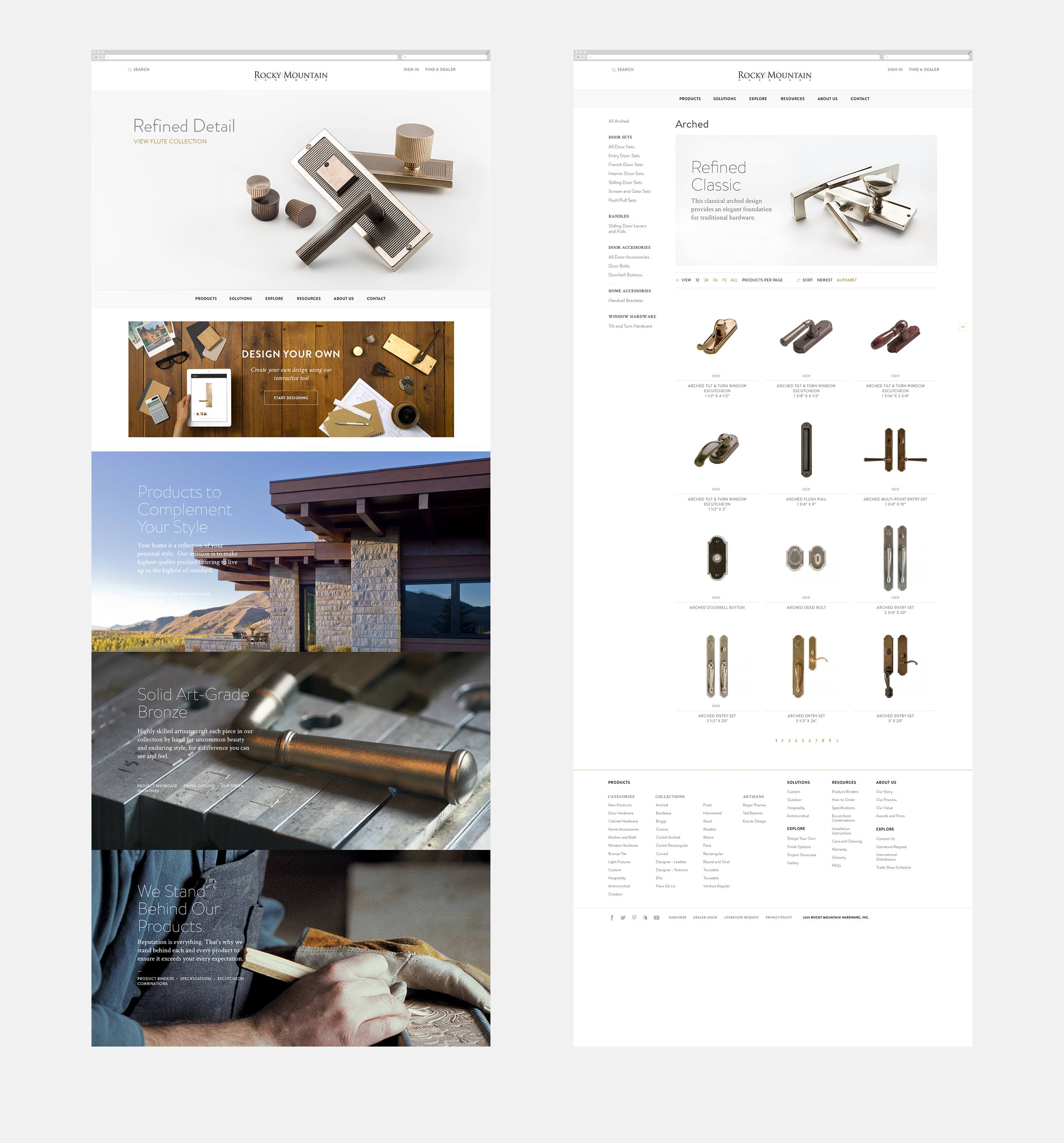 Rocky Mountain Hardware Product Landing Web Pages