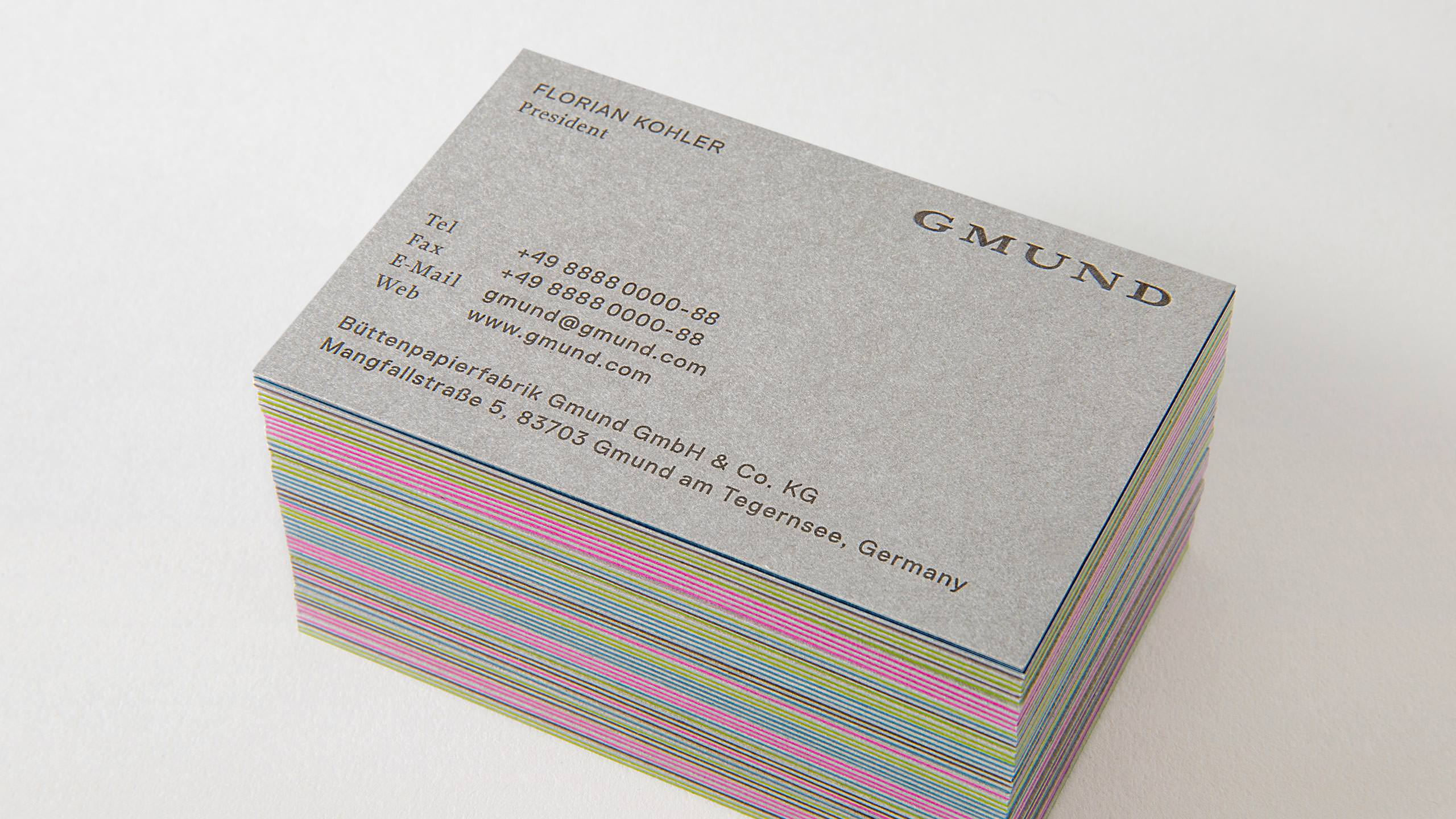 Gmund Brand Refresh Business Cards Stacked - Florian Kohler