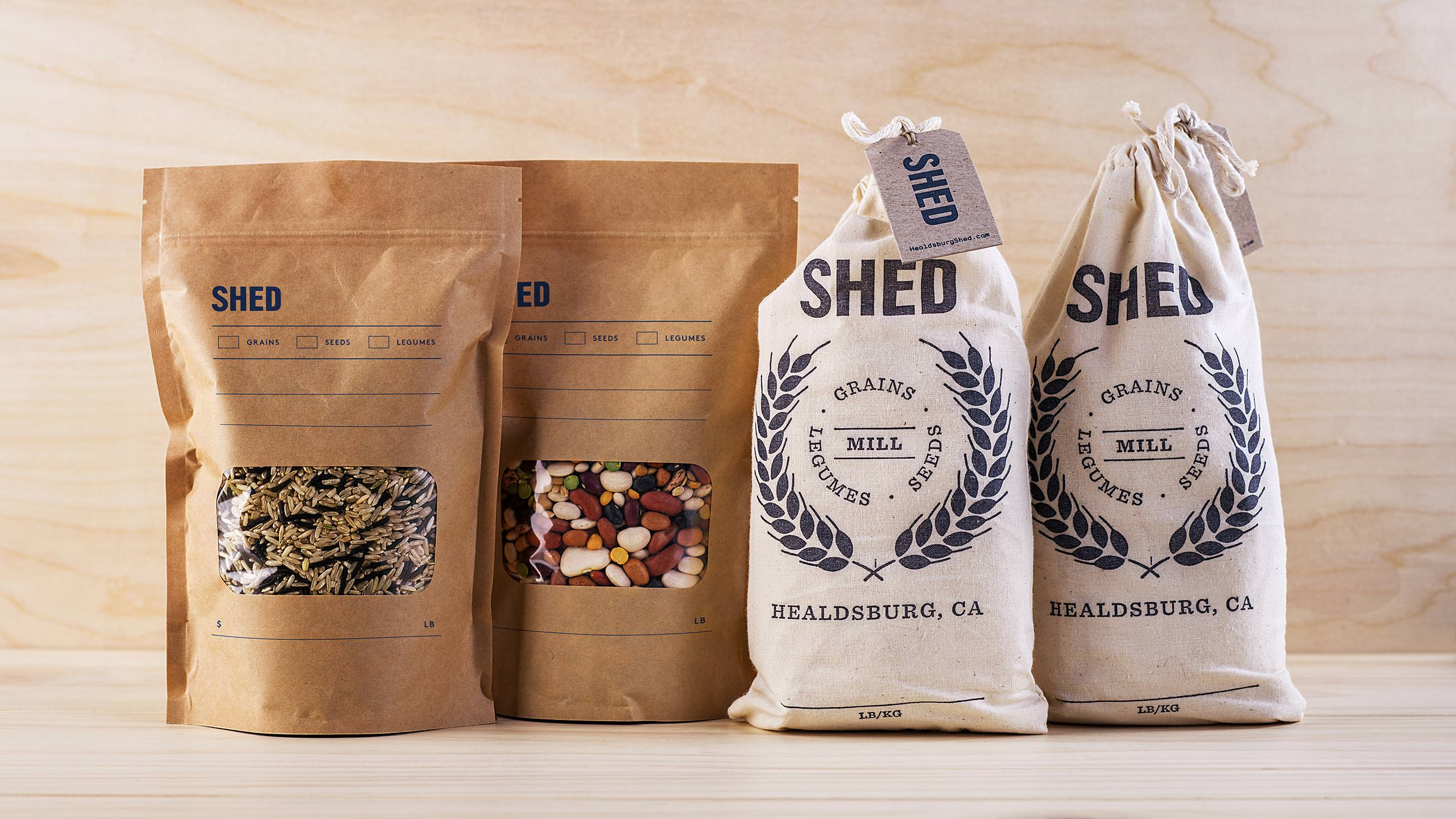 SHED Brand Packaging - Photography of Bags with Grains, Legumes and Seeds