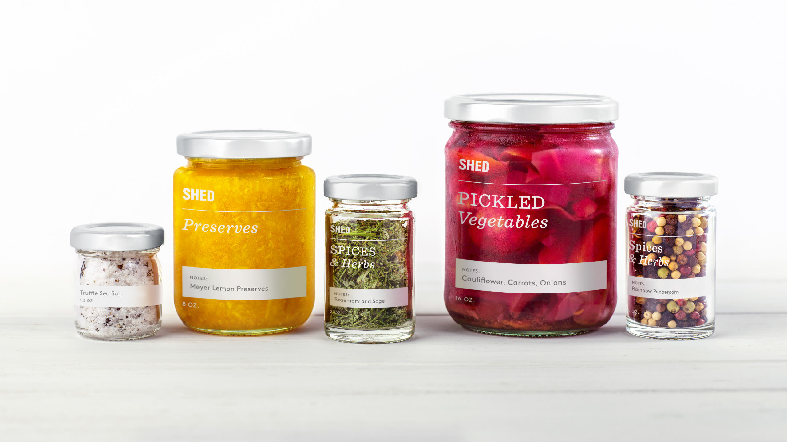 SHED Brand Packaging System - Photography of Preserves, Spices, and Pickled Vegetables