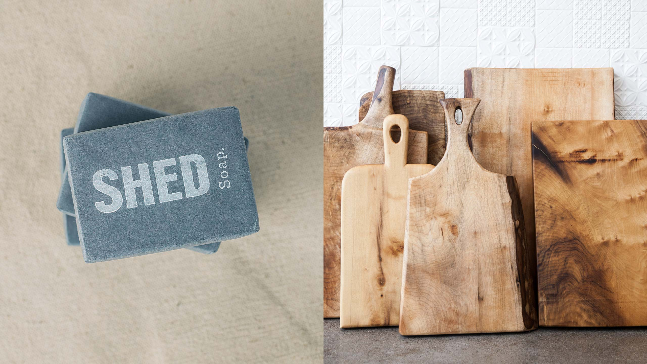 SHED Product Photography of Soaps and Cutting Boards