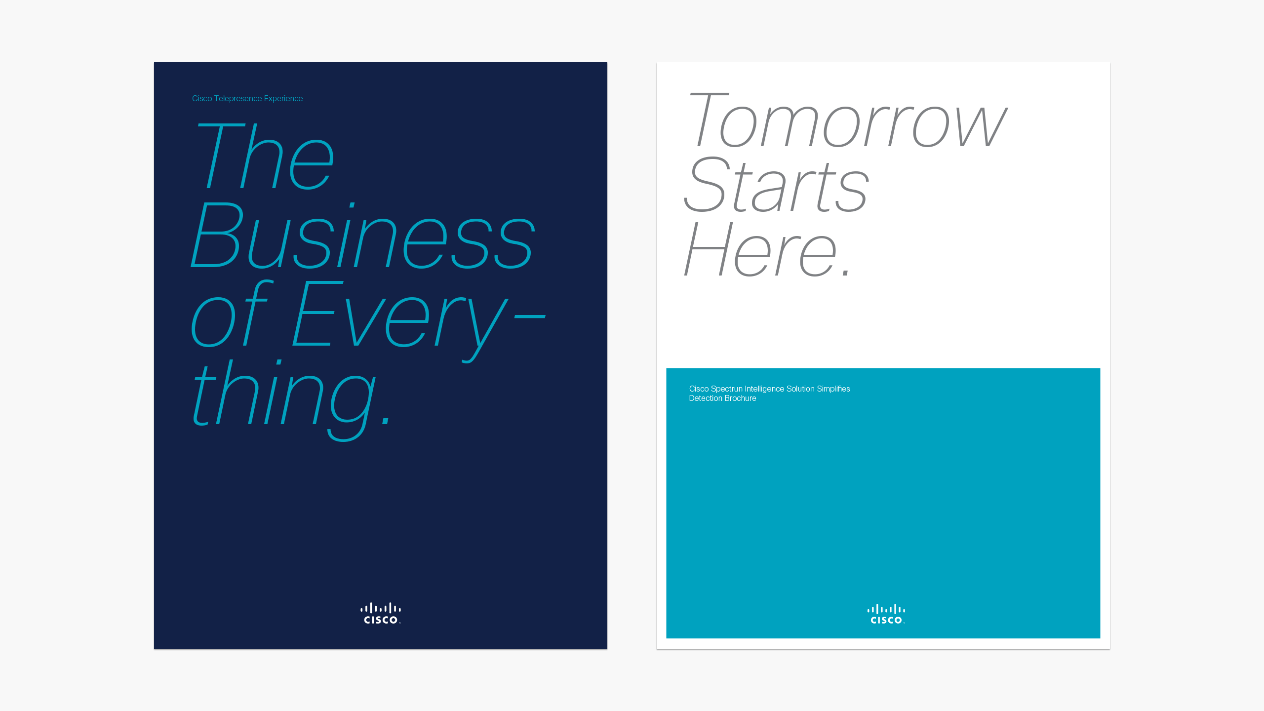 Two Cisco brochure covers