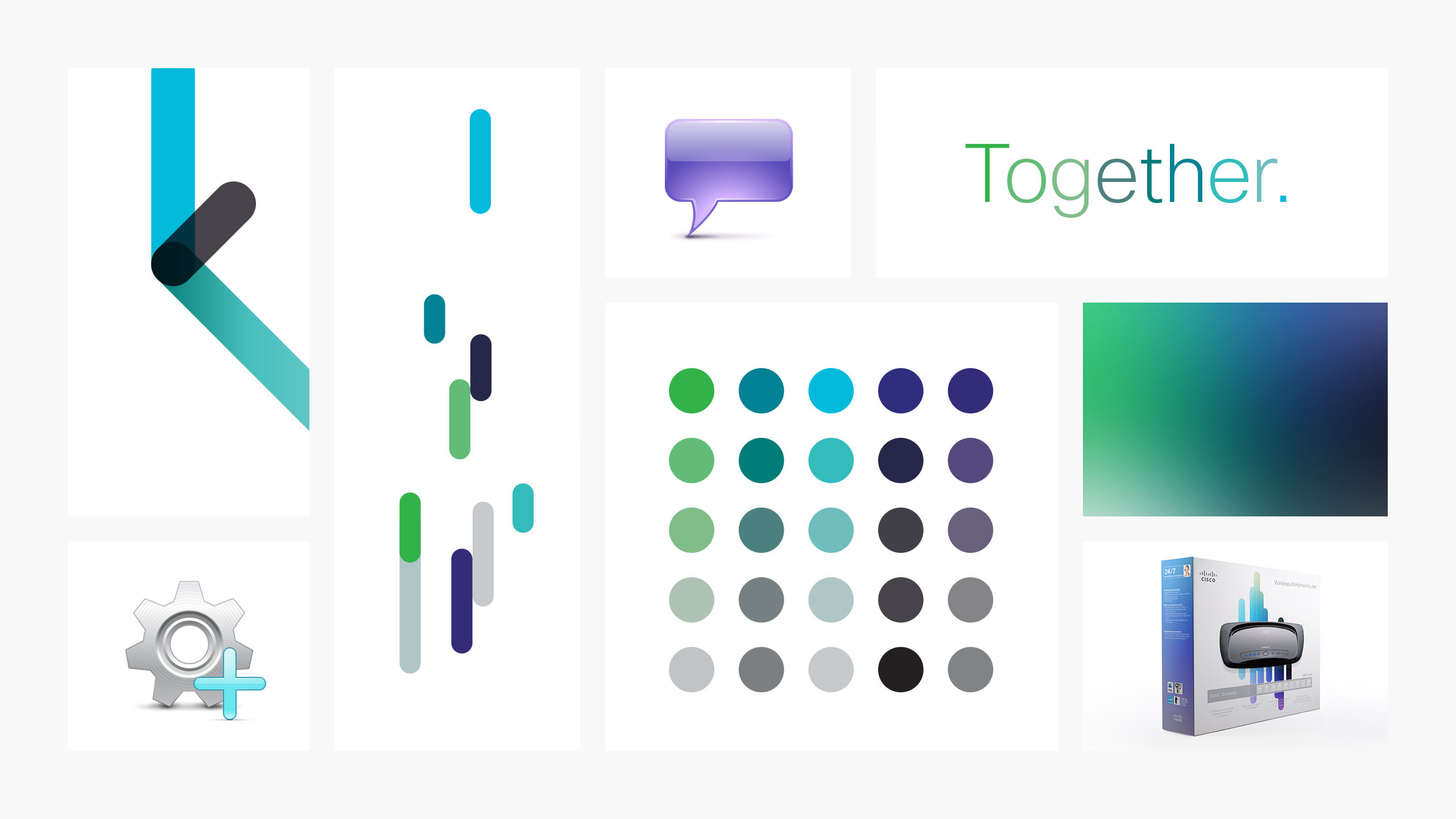 Cisco brand graphic elements palette icons gradient packaging