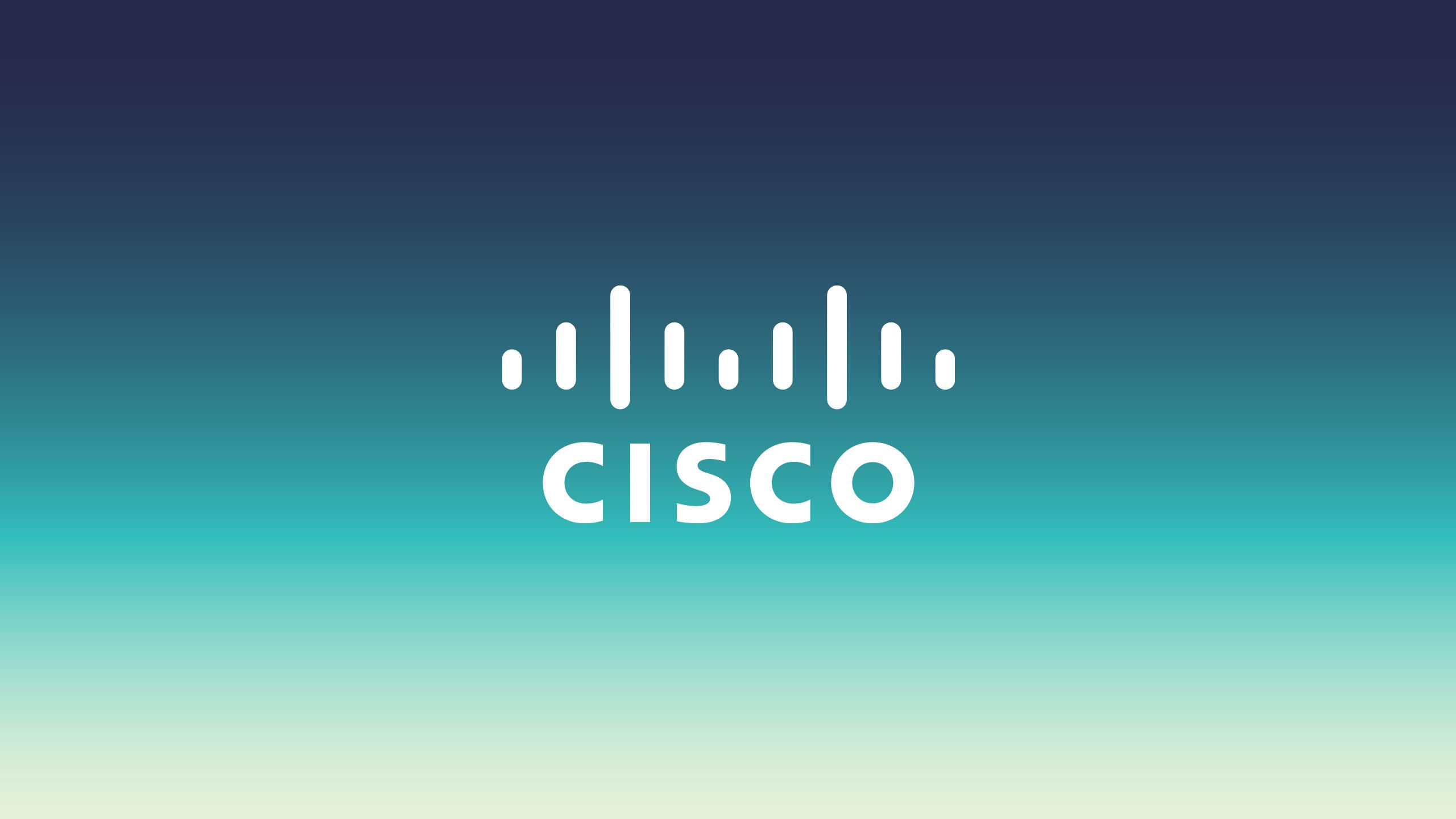 white Cisco logo on dark blue to light green gradient background
