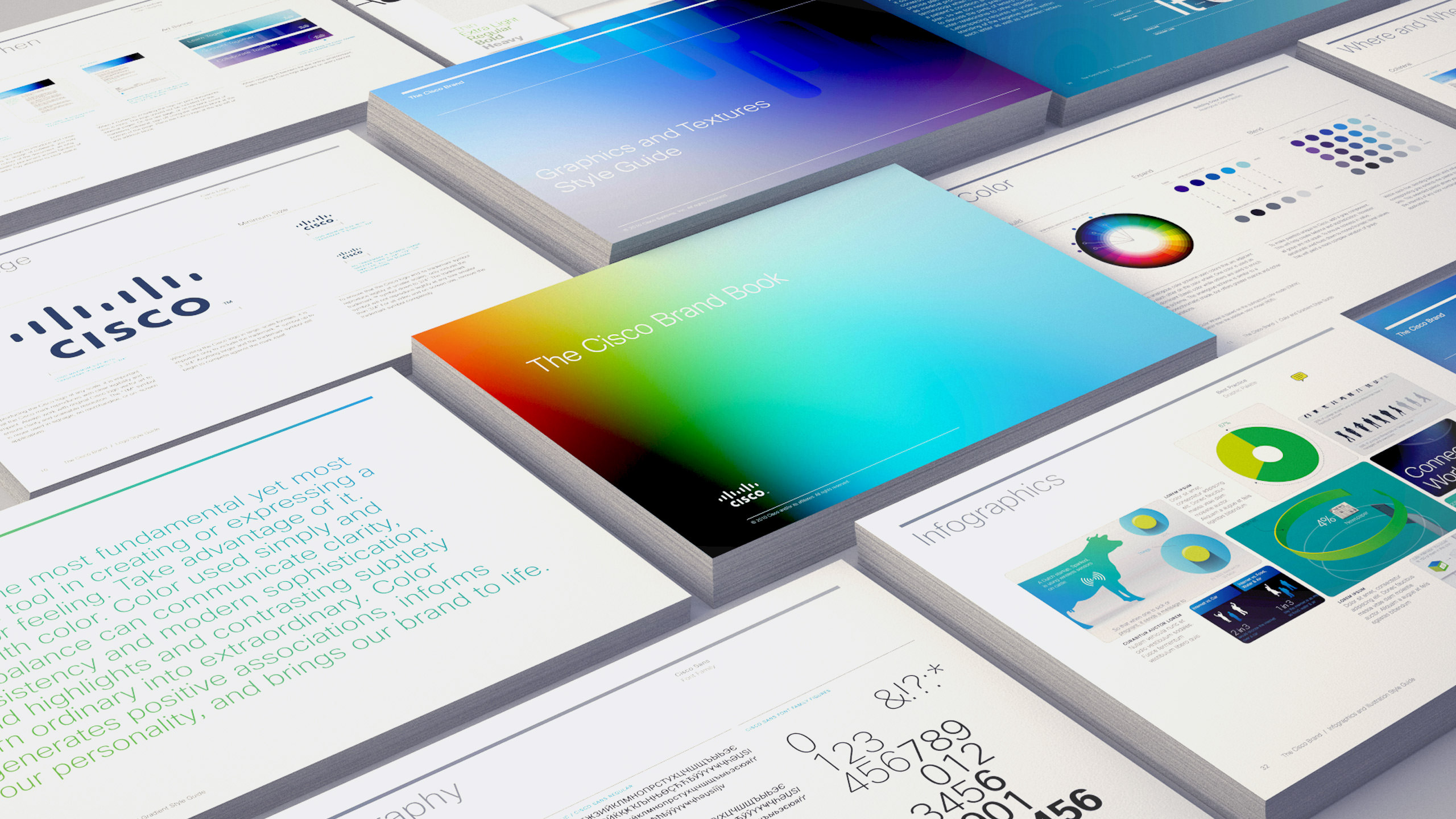 Stacks of pages from Cisco Brand Guidelines